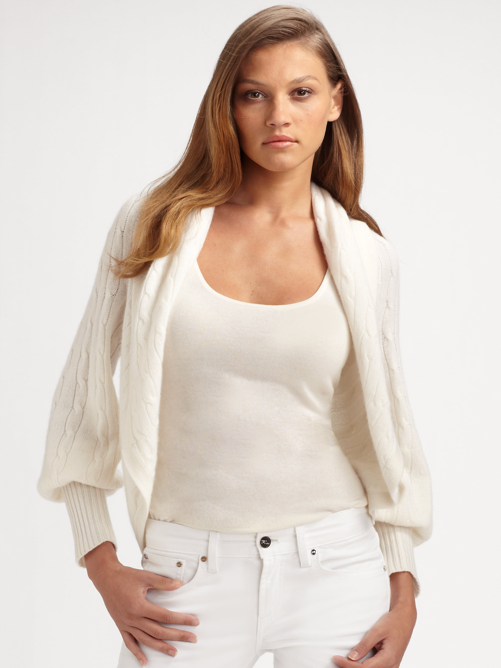 Ralph lauren black label Cashmere Cropped Circular Cardigan in ...