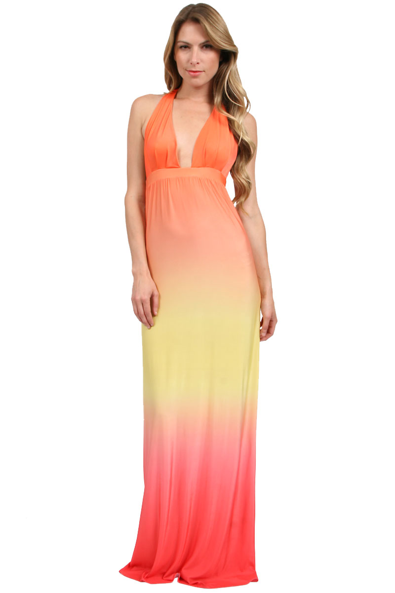 Savee couture long halter dress in yellow orange ombre in for Couture clothing