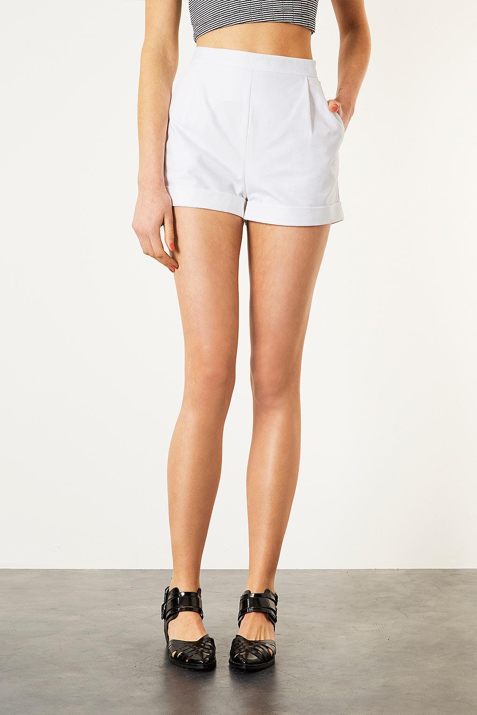 Topshop Piquet High Waist Shorts in White | Lyst