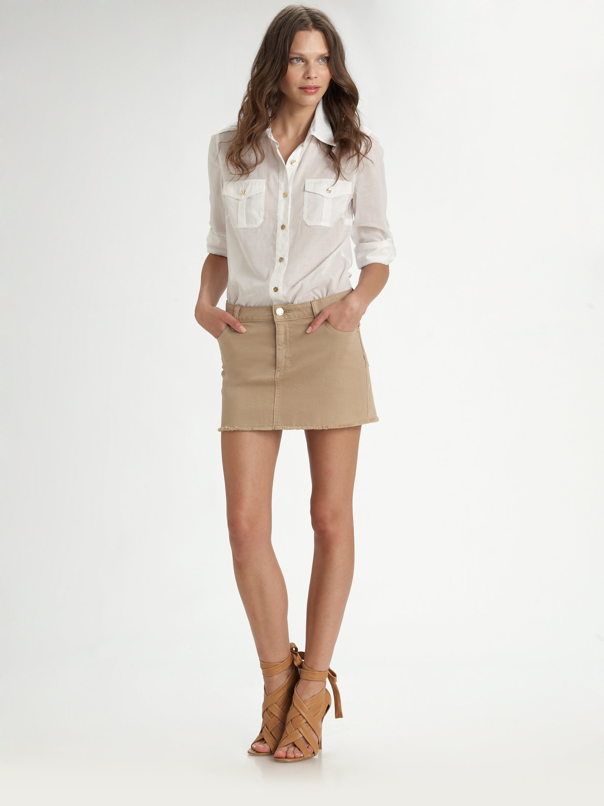 burch denim mini skirt in lyst
