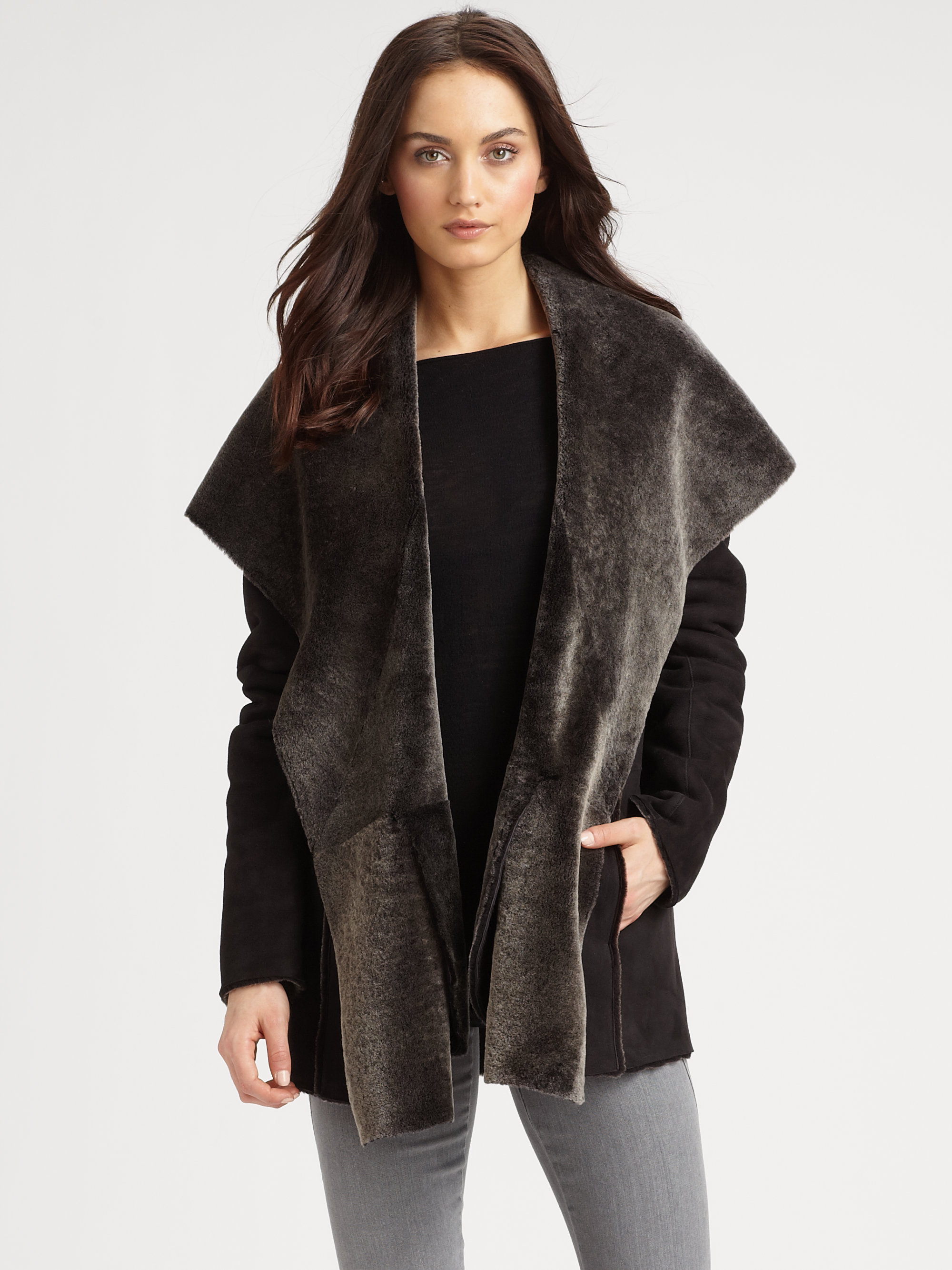 Vince Shearling Hooded Coat in Gray | Lyst