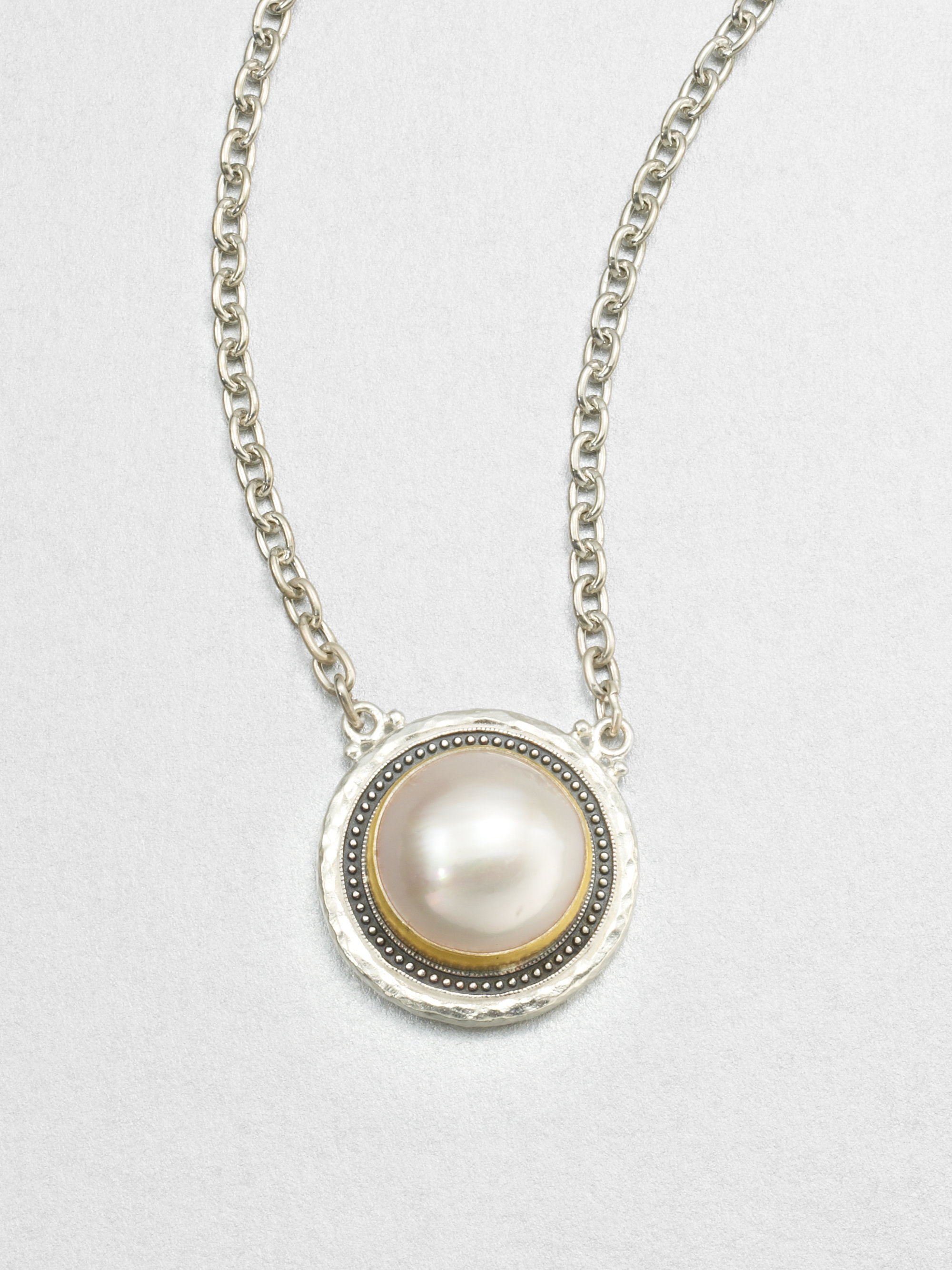 gurhan gauntlet white mabe pearl sterling silver pendant