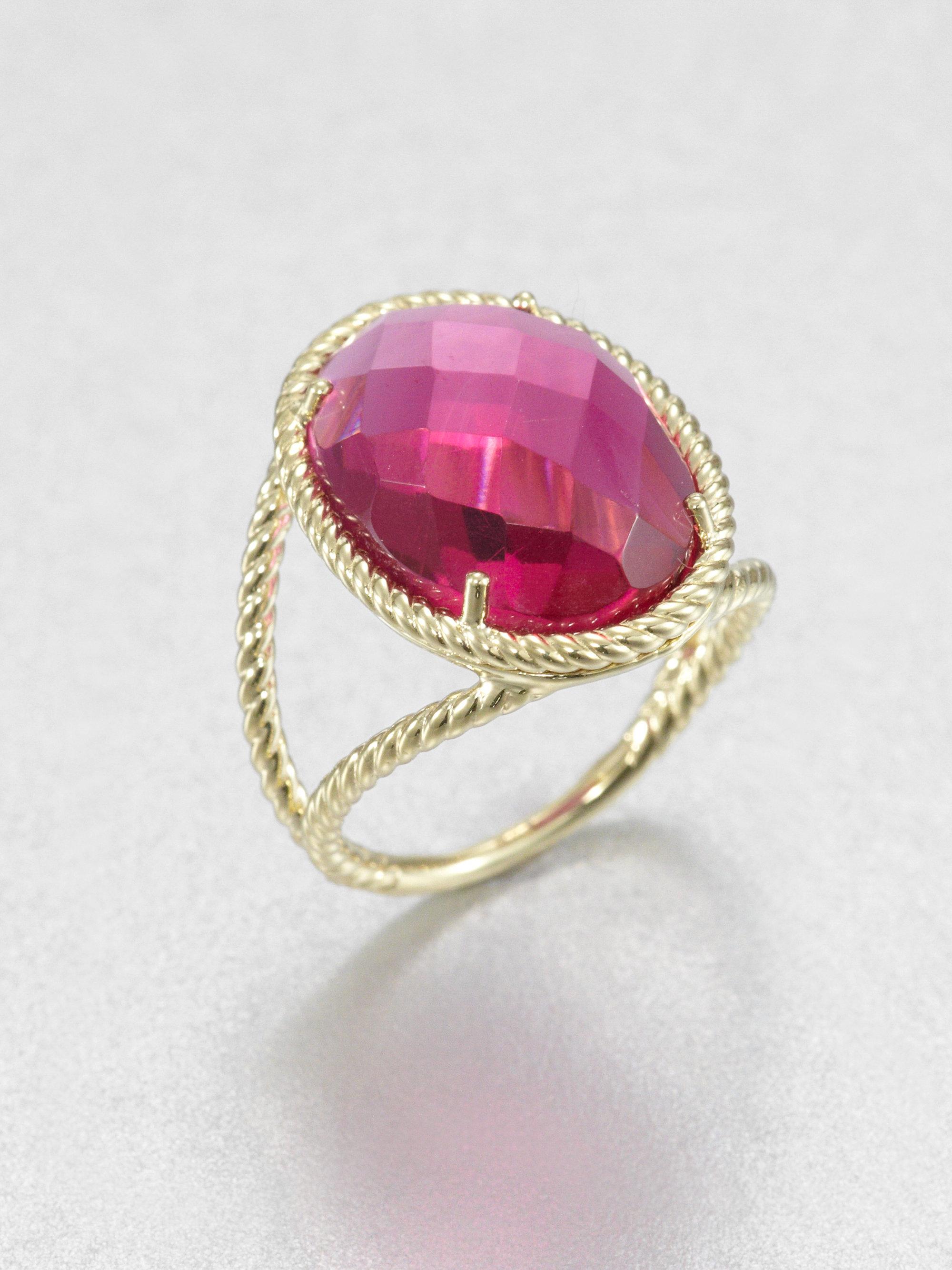 Jude Frances Fuchsia Quartz 18k Gold Oval Ring In Purple