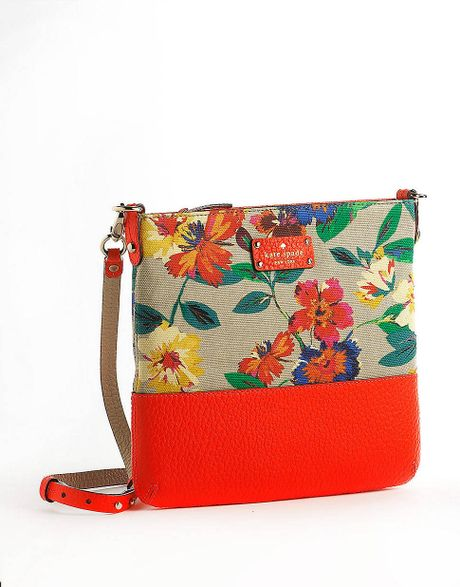 Kate Spade Cora Grove Court Floral Leather Crossbody Bag In Red (multi) | Lyst