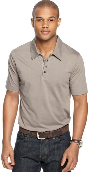 Marc new york quarter zip snap button polo shirt in brown for Mens shirts with snaps instead of buttons