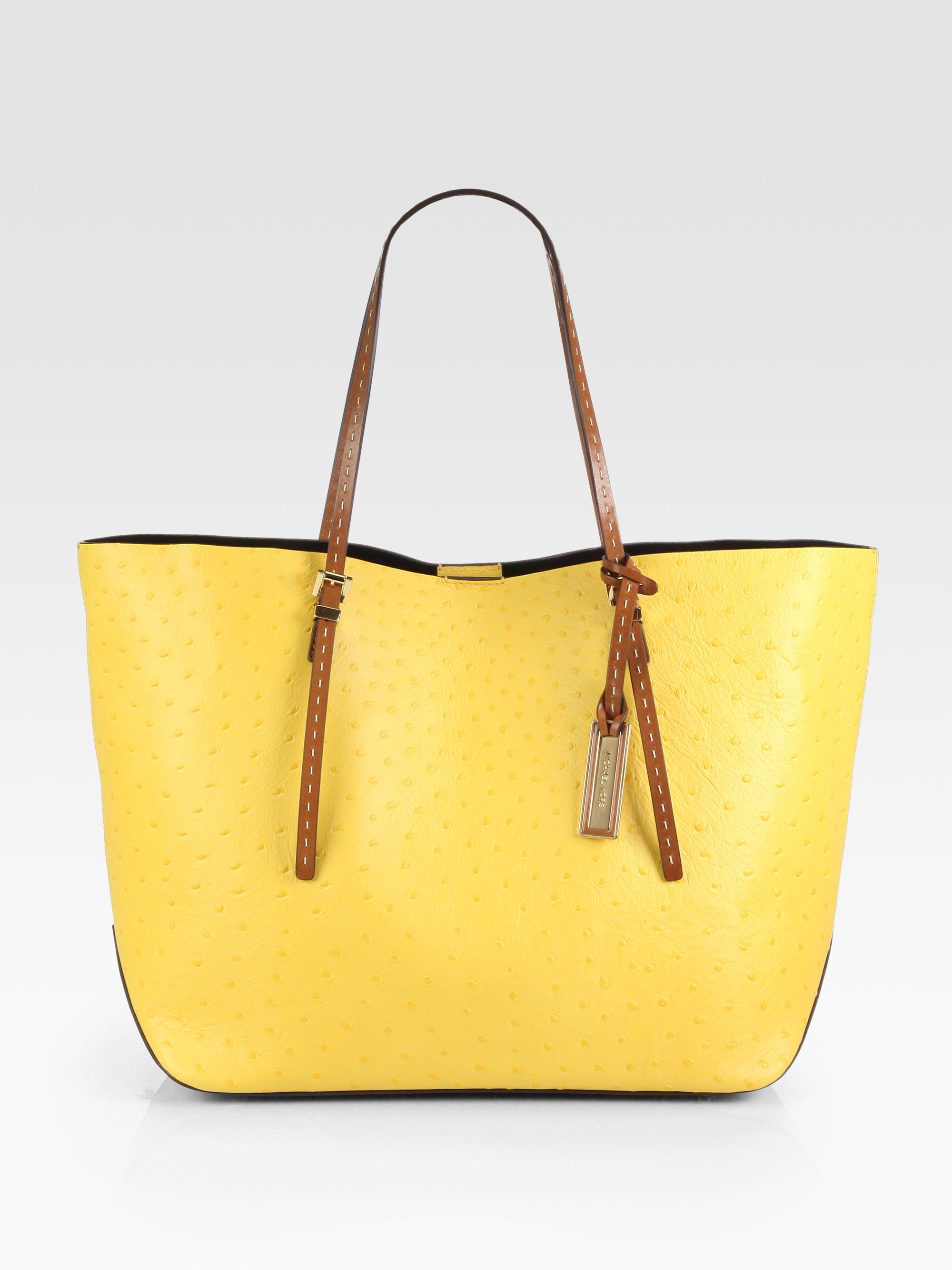 cc4d83fbb977 ... czech lyst michael kors gia ostrichstamped leather tote in yellow ce396  285f1