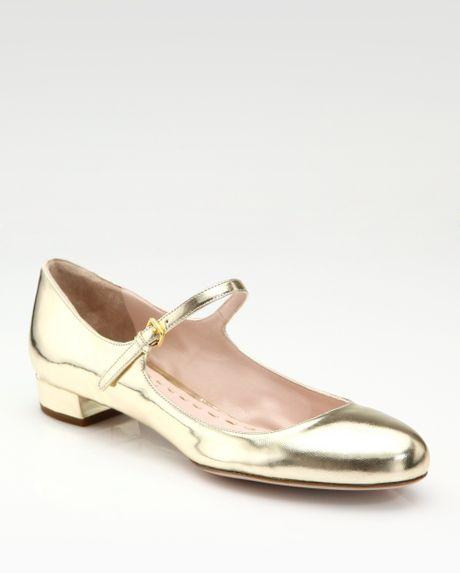 Miu Miu Metallic Leather Mary Jane Pumps in Gold   Lyst