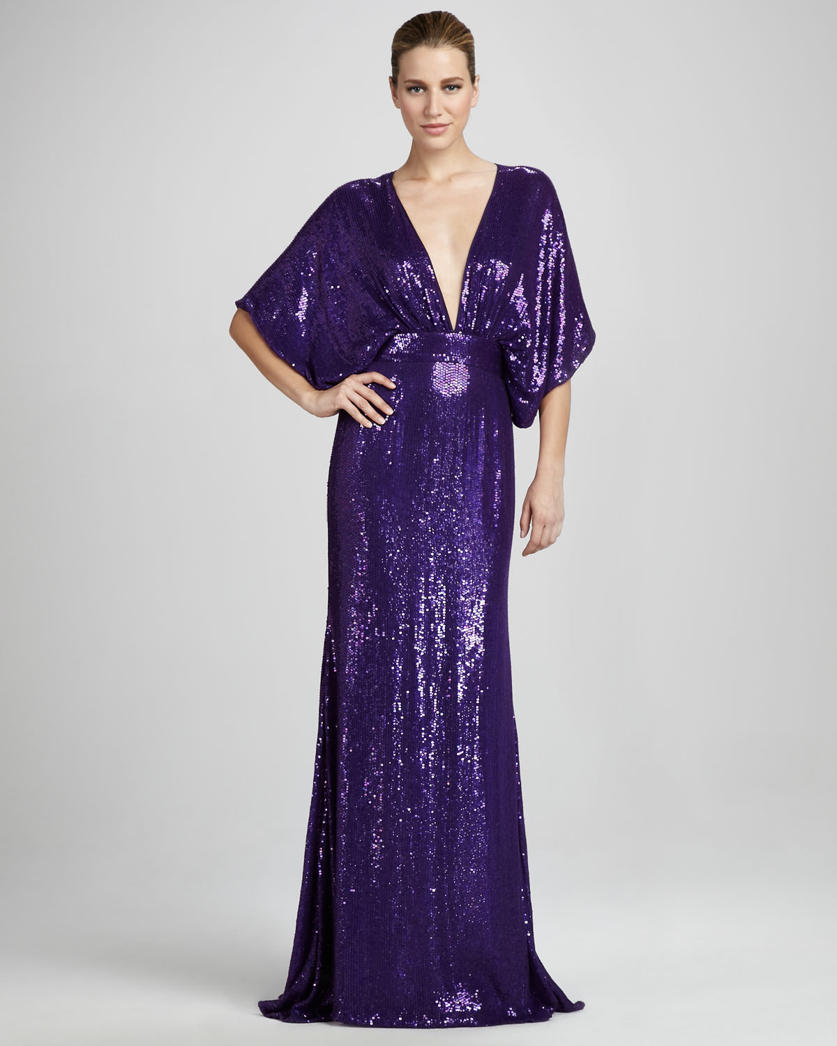 Lyst - Naeem Khan Sequined Kimono Gown in Purple