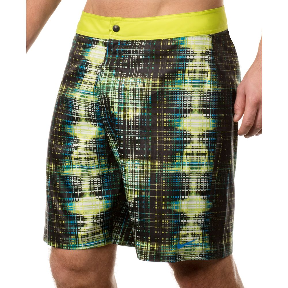 Nike Data Plaid Board Shorts in Green for Men | Lyst