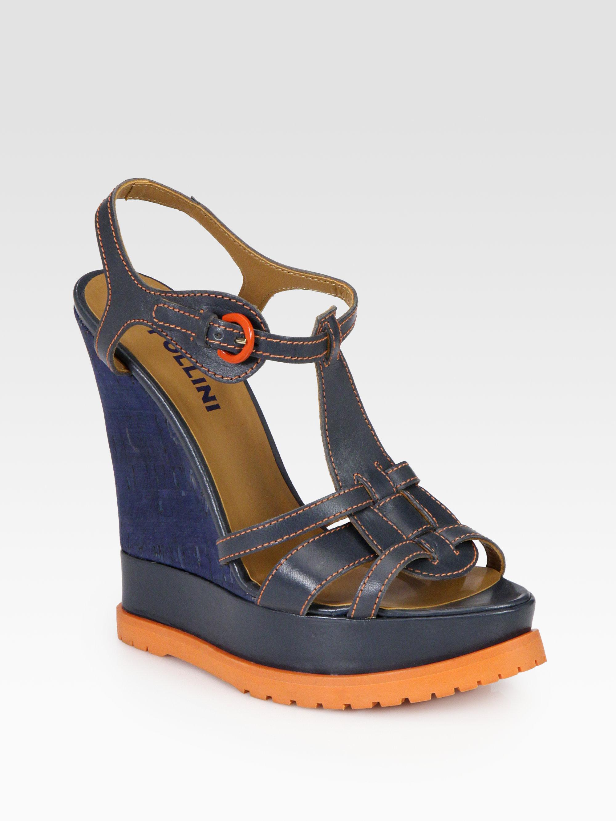 pollini leather cork wedge sandals in blue blue orange