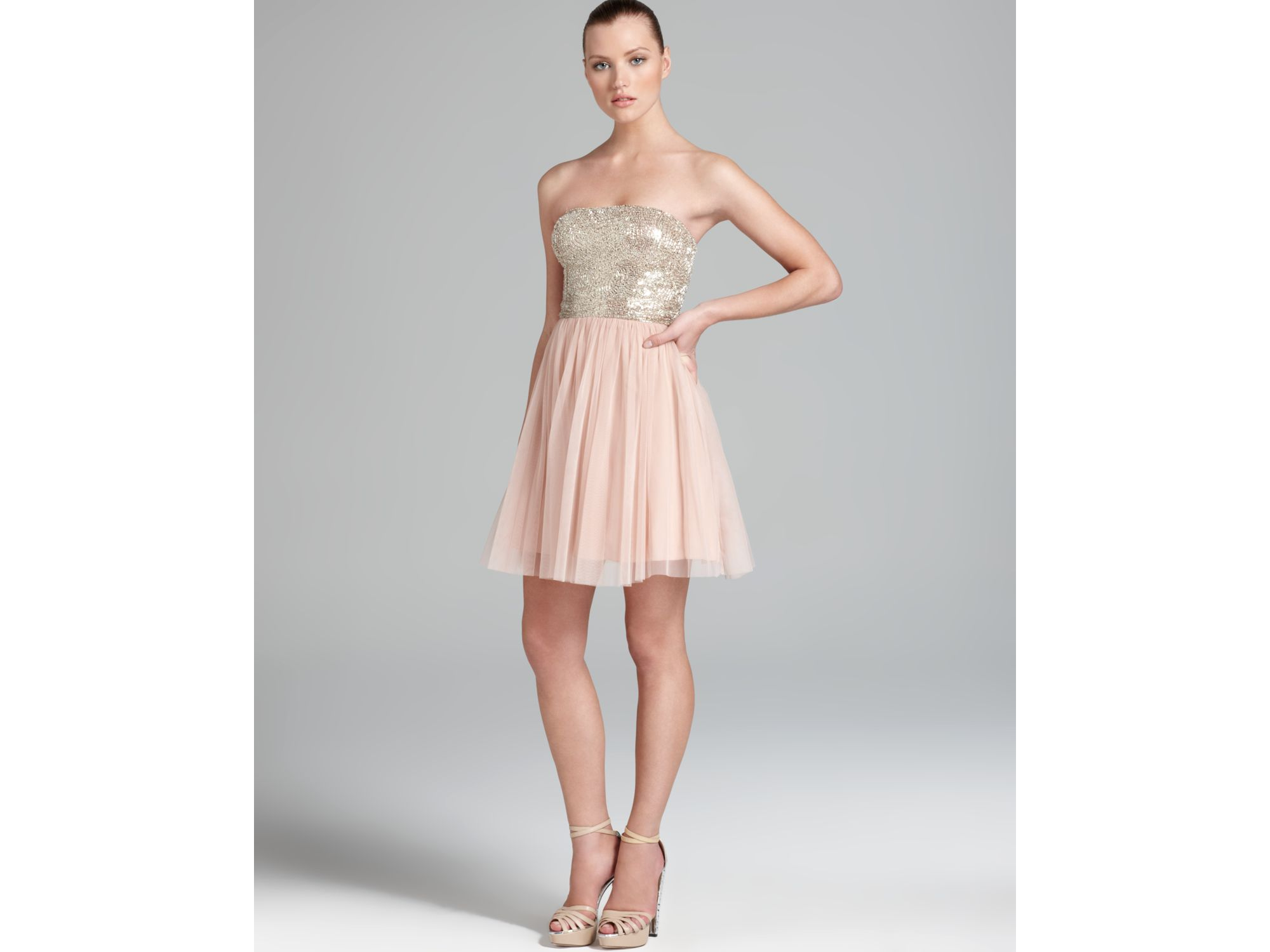 Aidan mattox Party Dress Strapless Sequin Top in Pink - Lyst