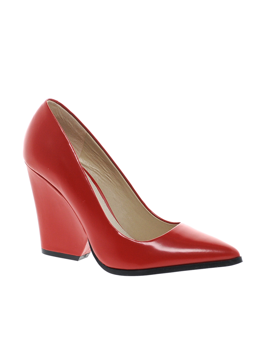 Aldo Georgen Red Block Heeled Pointed Court Shoes In Red