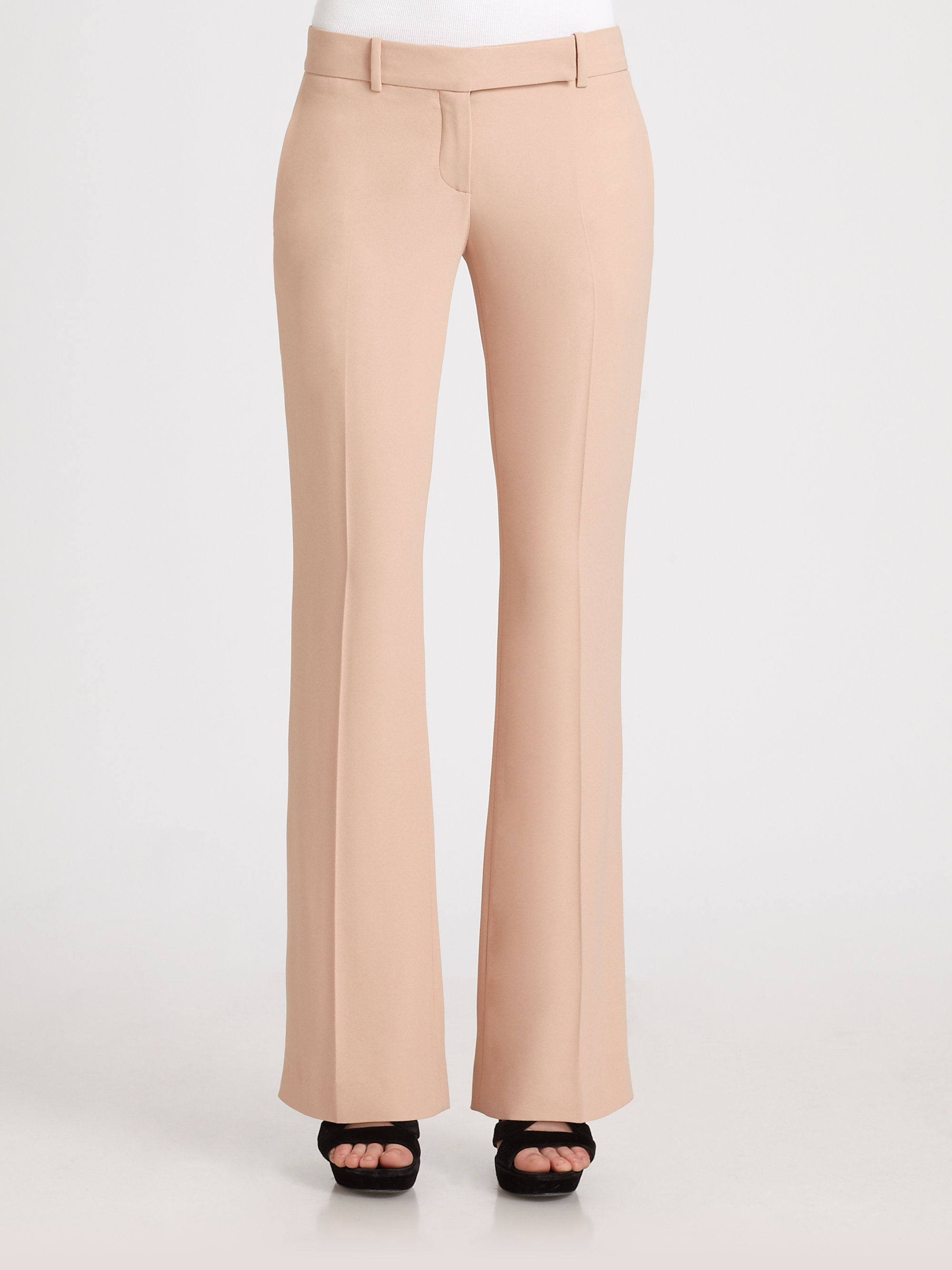 Alexander mcqueen Leaf Crepe Bootcut Trousers in Natural | Lyst