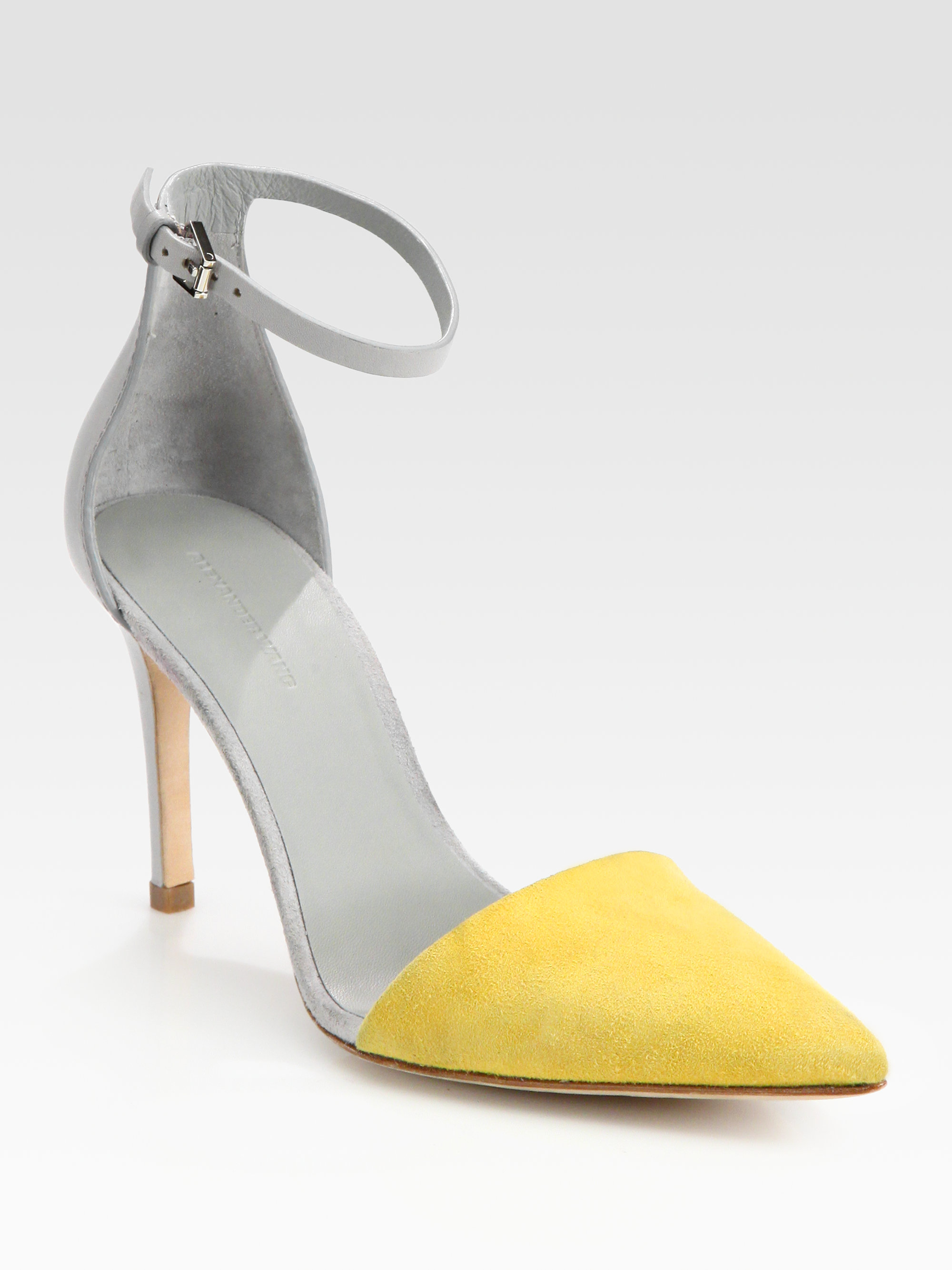 Alexander wang Lina Leather and Suede Colorblock Pumps in Gray  Lyst