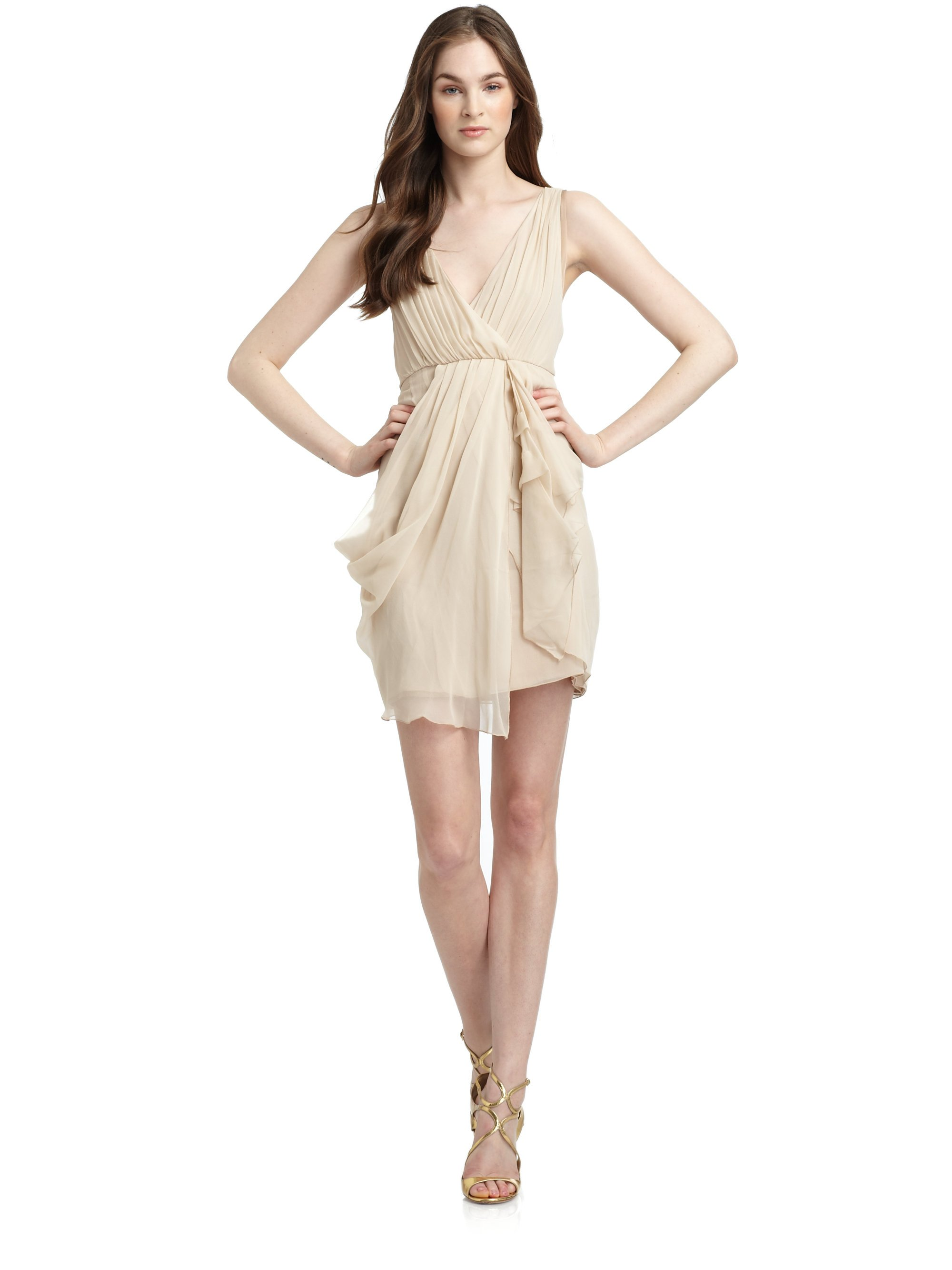 Lyst - Alice + Olivia Silk Chiffon Draped Cocktail Dress in Natural
