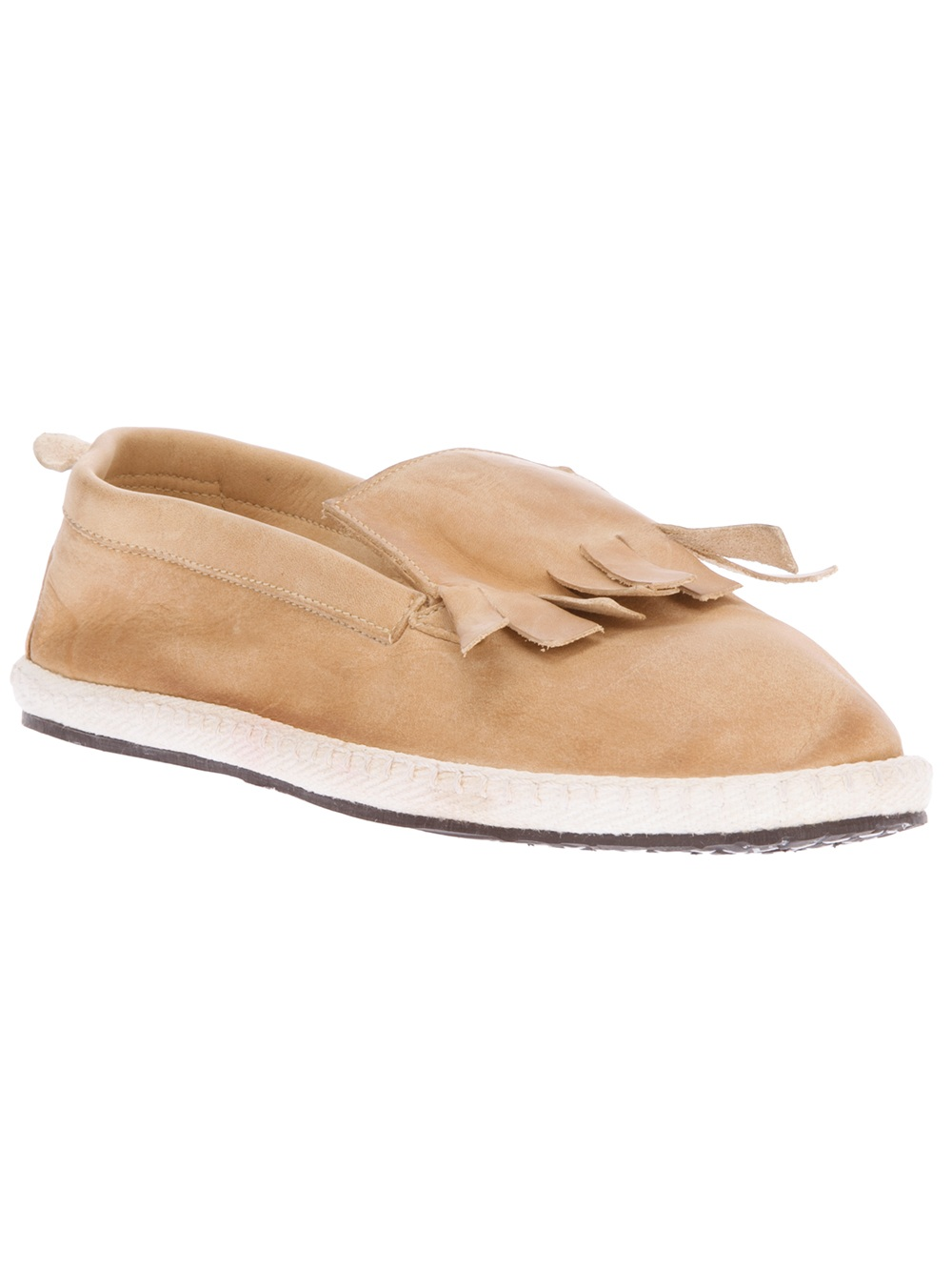 Lyst Allagiulia Tasseled Nubuck Leather Loafers In Natural