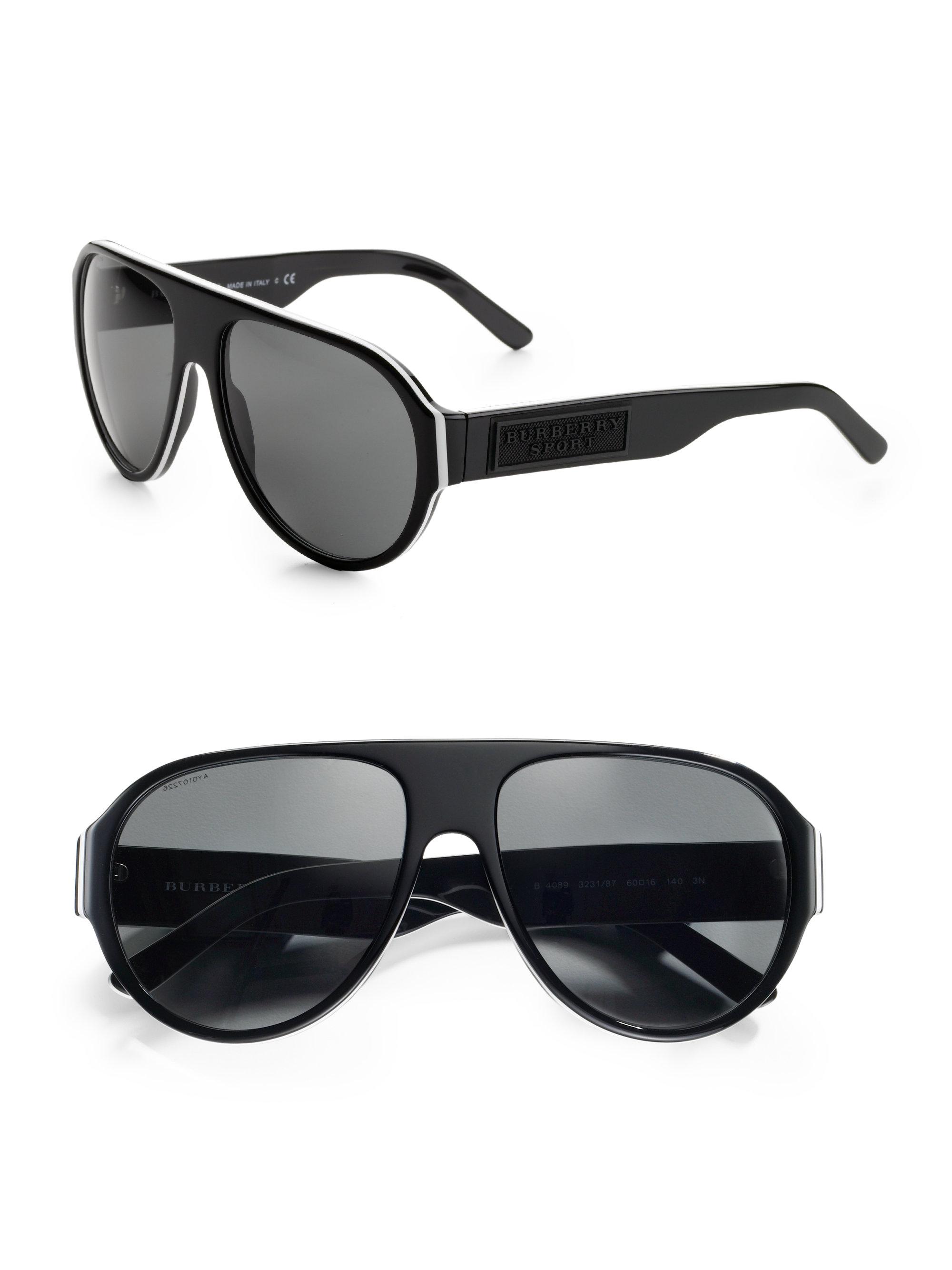 95679ad66bb Lyst - Burberry Sport Aviator Sunglasses in White for Men
