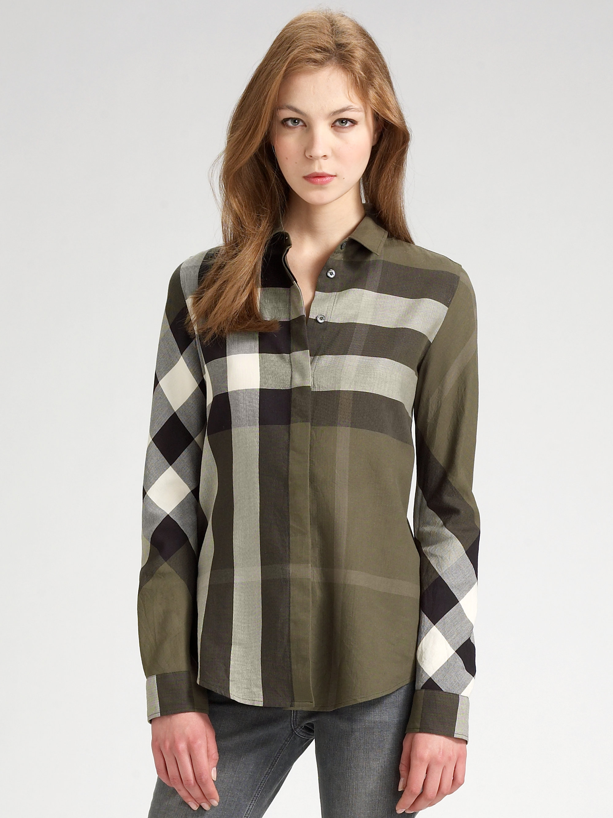 Burberry brit check shirt in green lyst for Burberry brit green plaid shirt