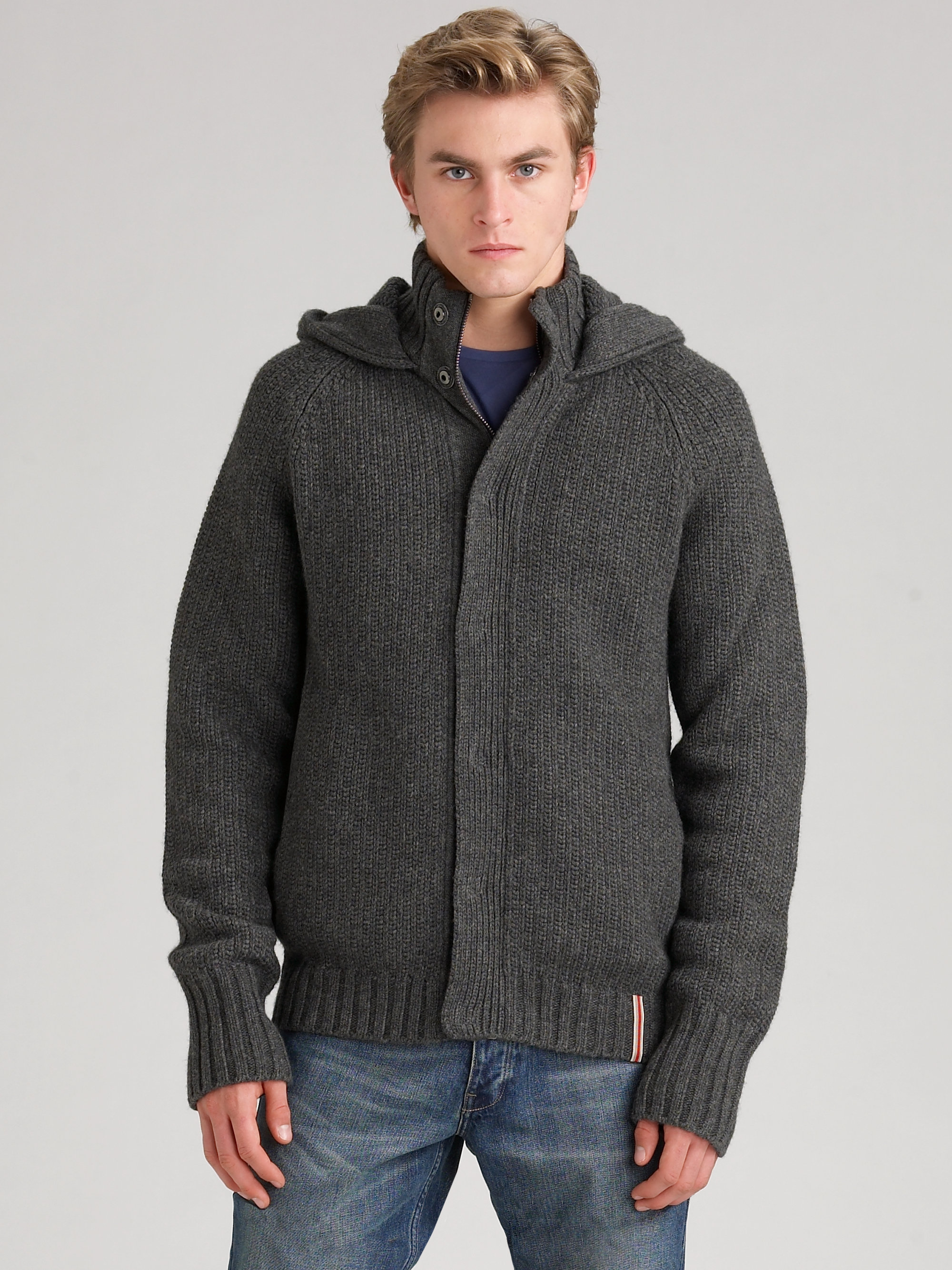Burberry Merino Wool Hooded Cardigan in Gray for Men | Lyst