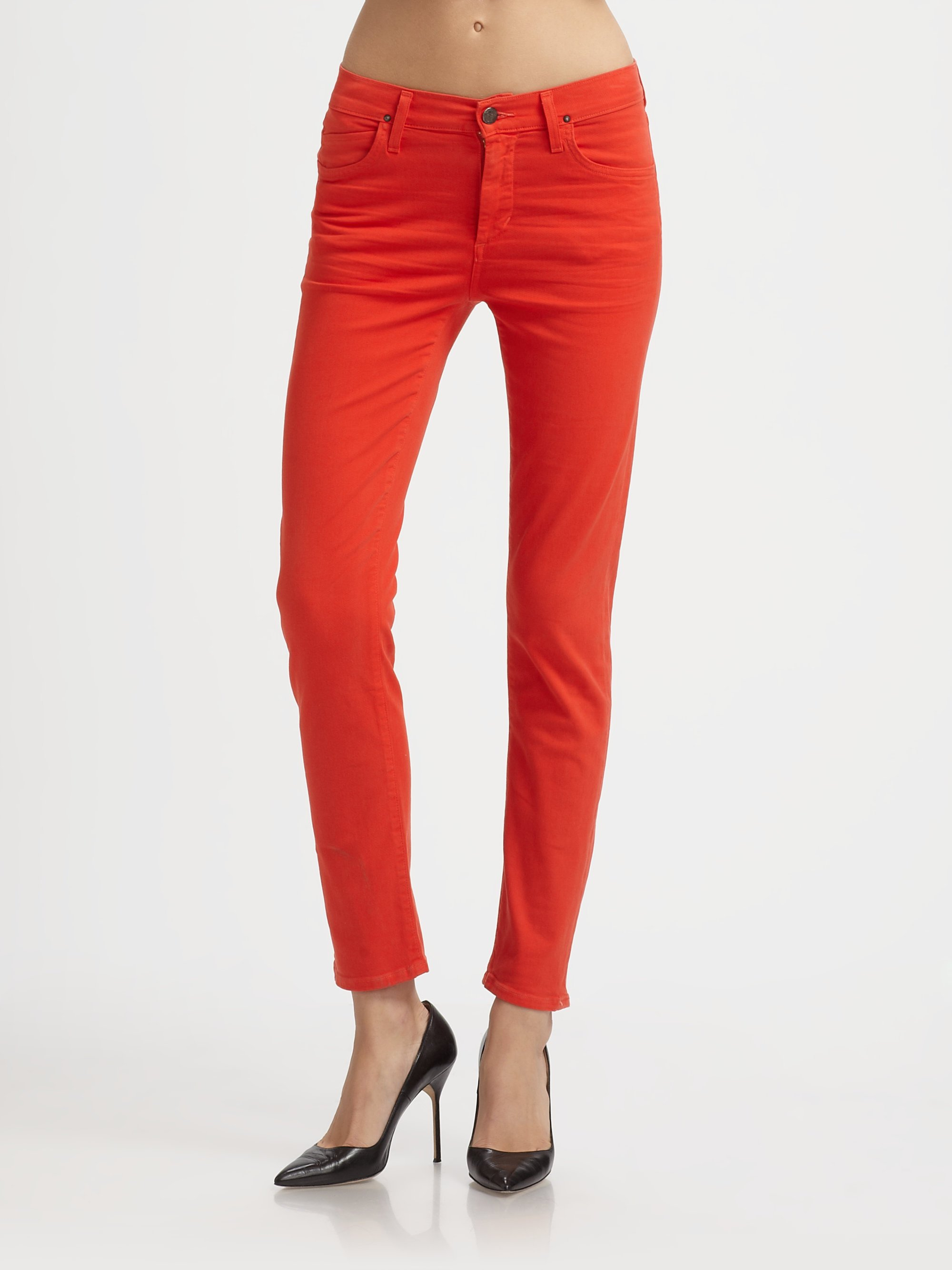 Citizens of humanity Estate Twill Skinny Jeans in Red | Lyst