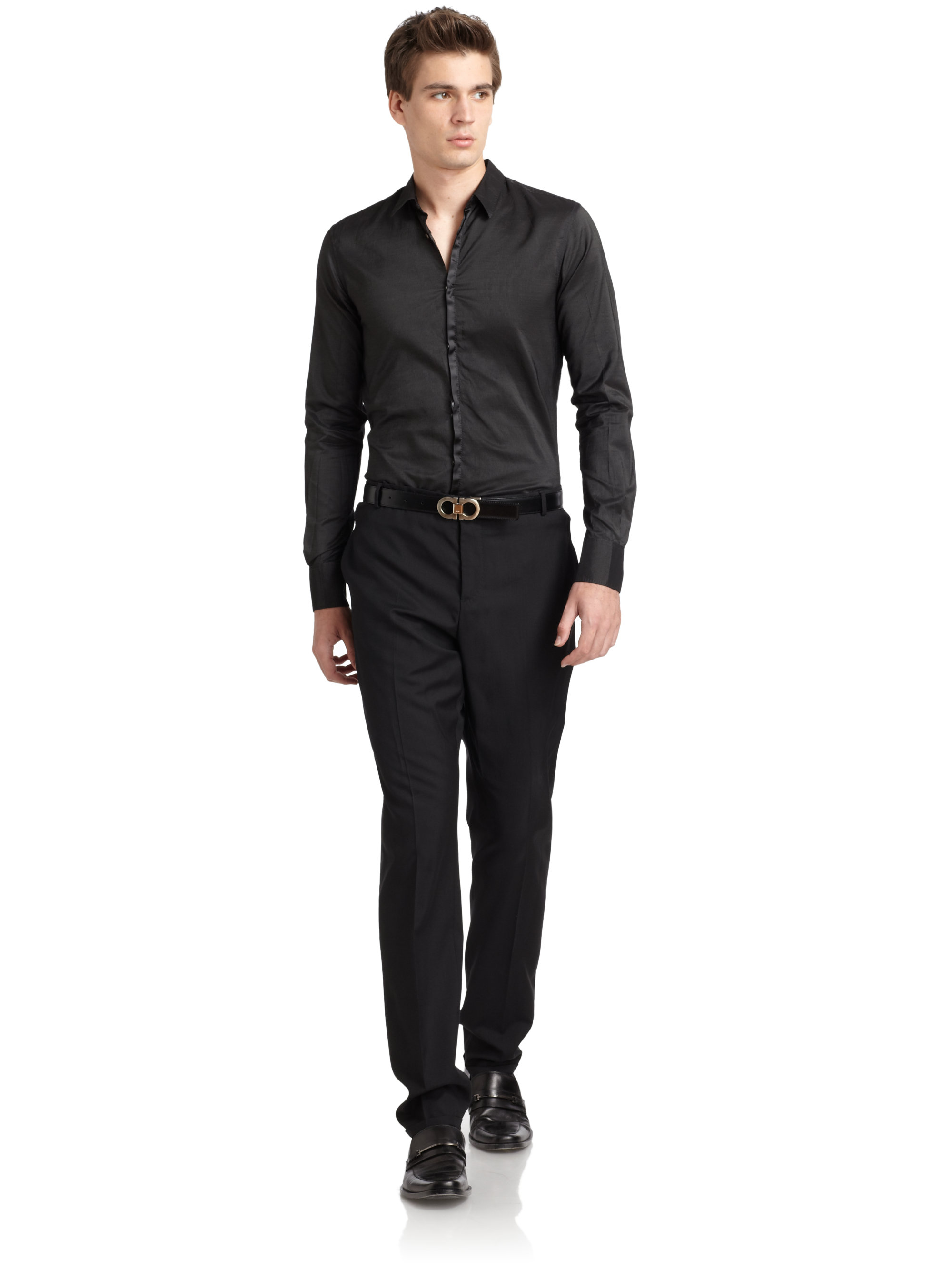 Lyst - Costume national Slim Fit Silk Placket Button Down Shirt in ...