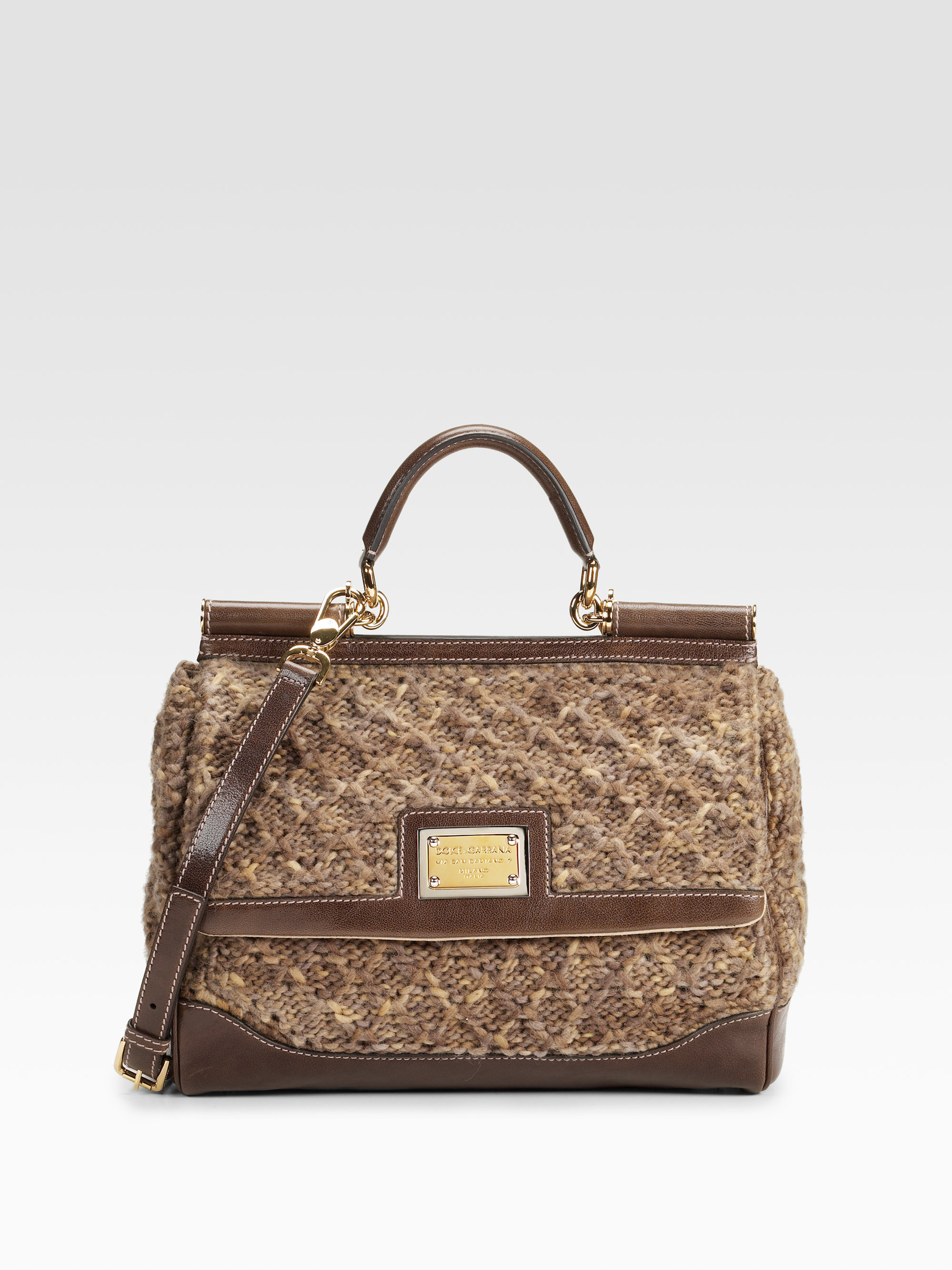 Leather Crochet Bag : Dolce & gabbana Miss Sicily Crochet Leather Bag in Brown Lyst
