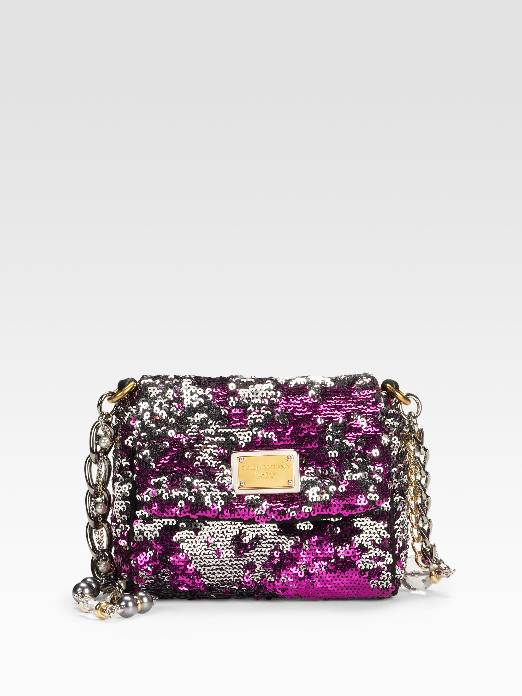 e3e555fc30ae Lyst - Dolce   Gabbana Miss Charles Sequined Mini Evening Bag in Purple