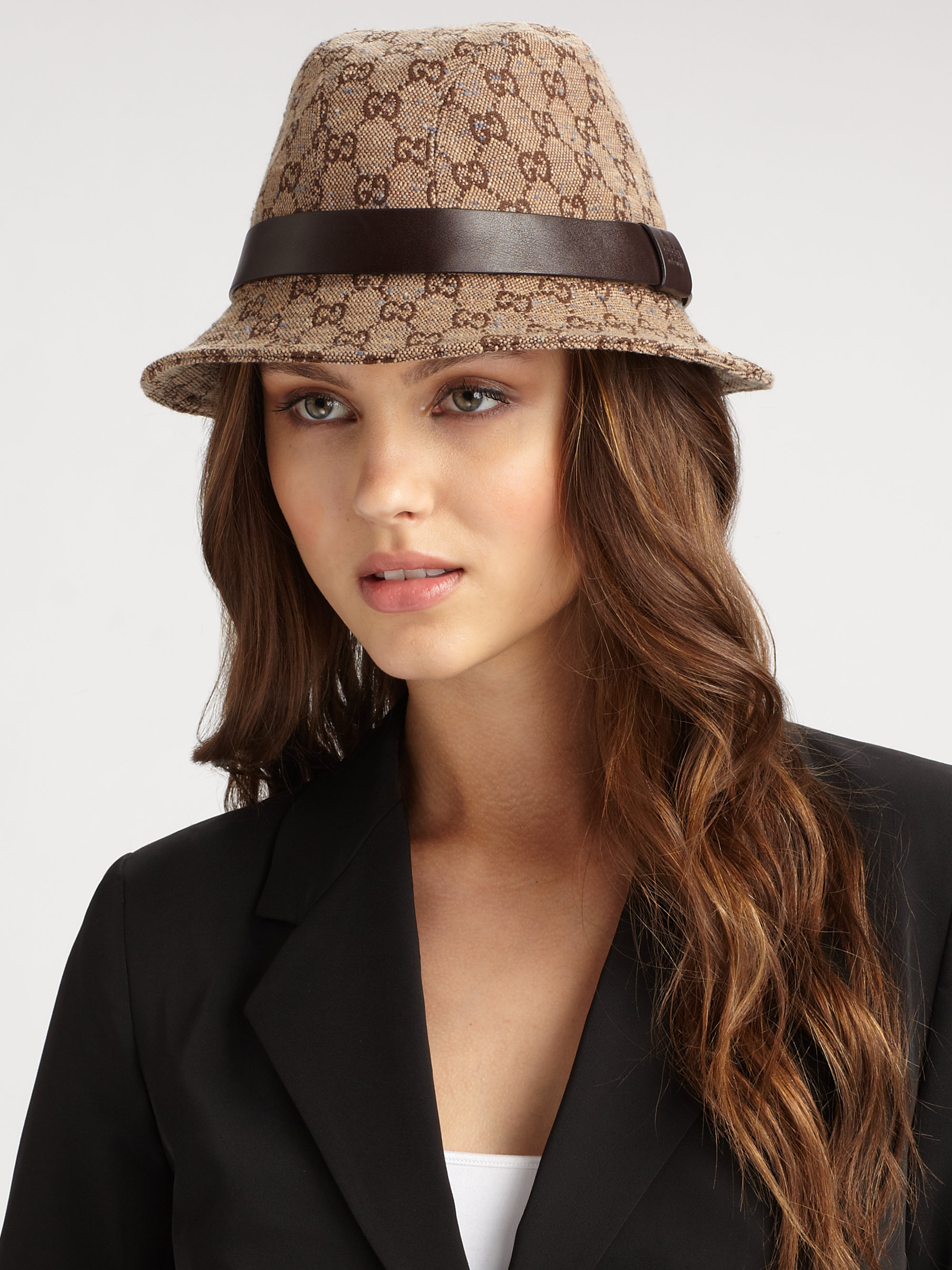 322a79995 Gucci Gg Fedora Hat in Brown - Lyst