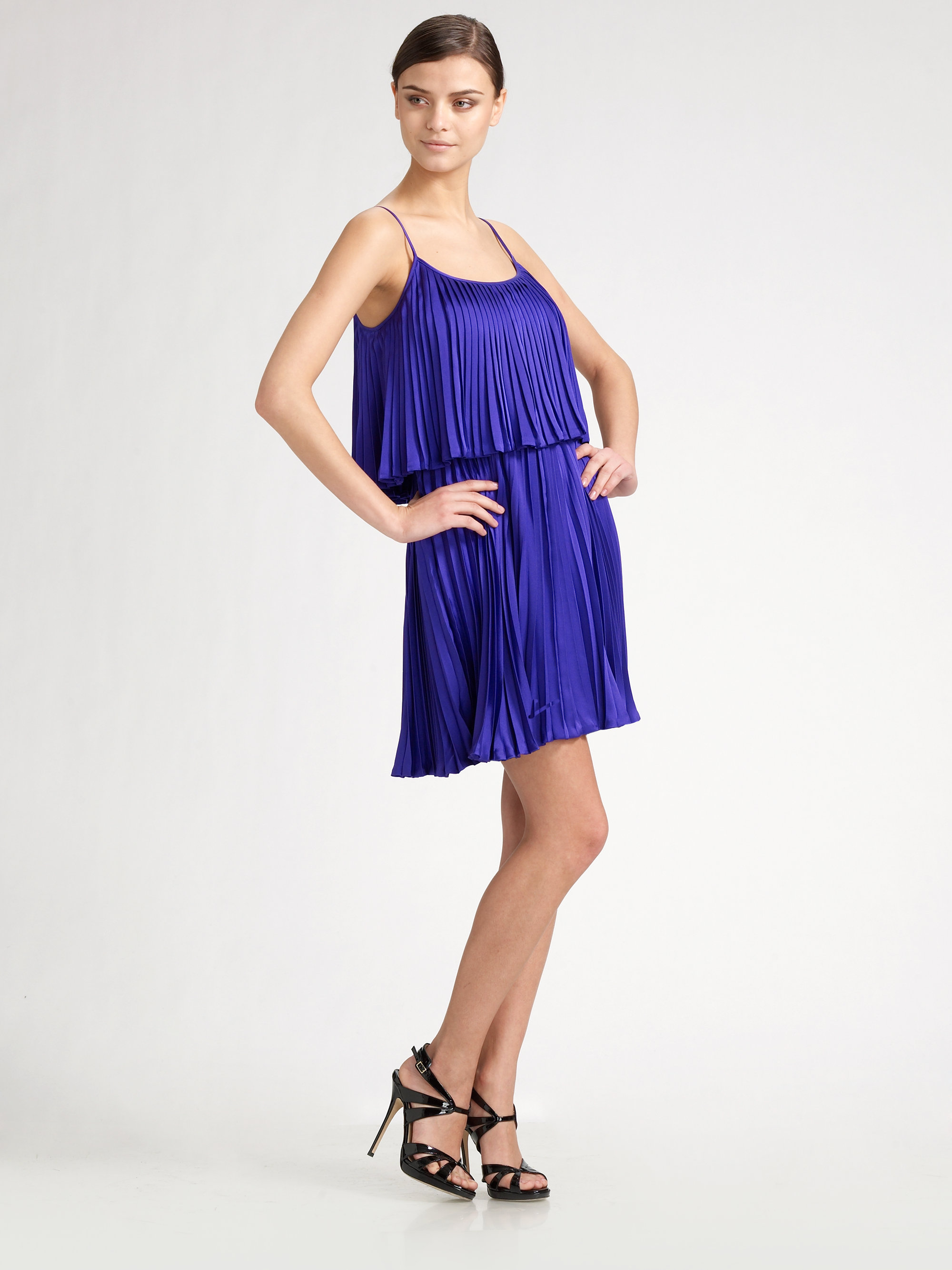 15029cf2e90 Halston Pleated Silk Cocktail Dress in Blue - Lyst