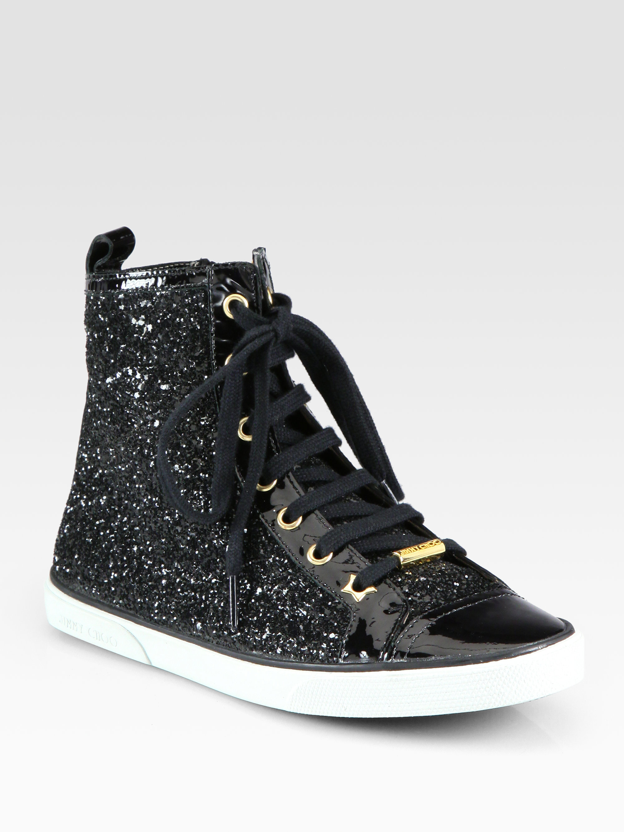jimmy choo destin glitter patent leather high top sneakers in black lyst. Black Bedroom Furniture Sets. Home Design Ideas