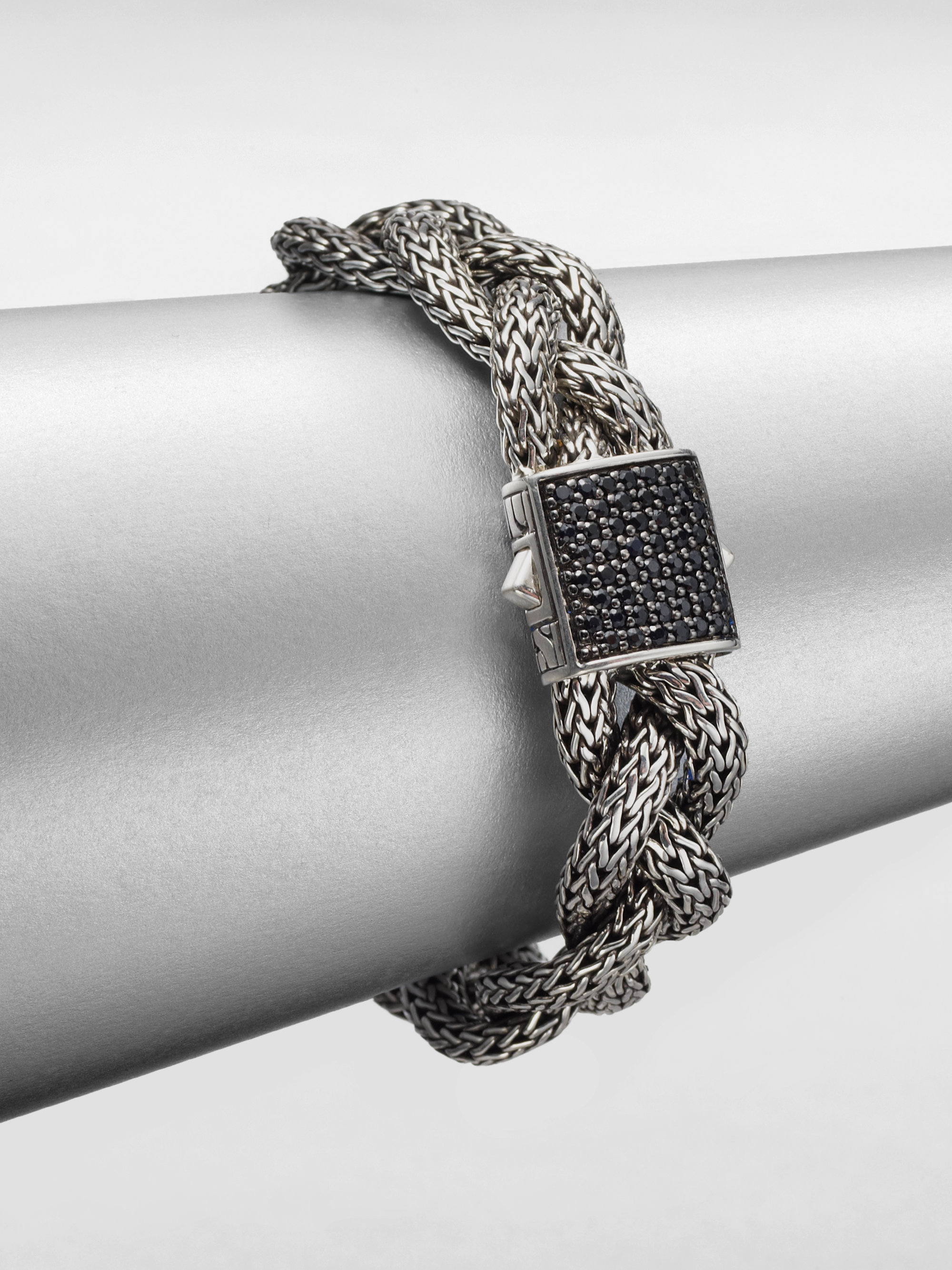 John Hardy Classic Chain Black Sapphire Amp Sterling Silver Medium Braided Bracelet In