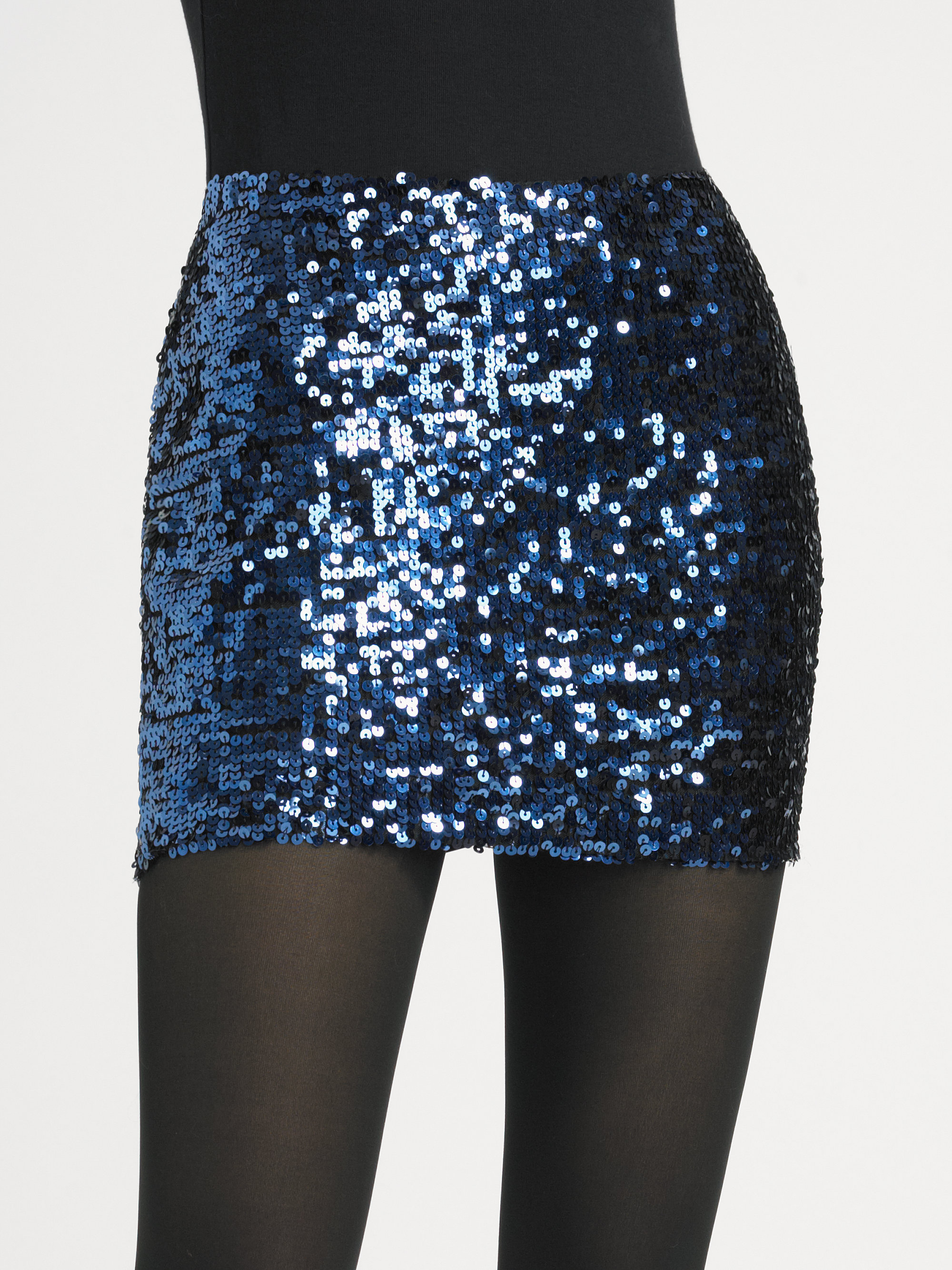 Larok Sequin Mini Skirt in Blue | Lyst