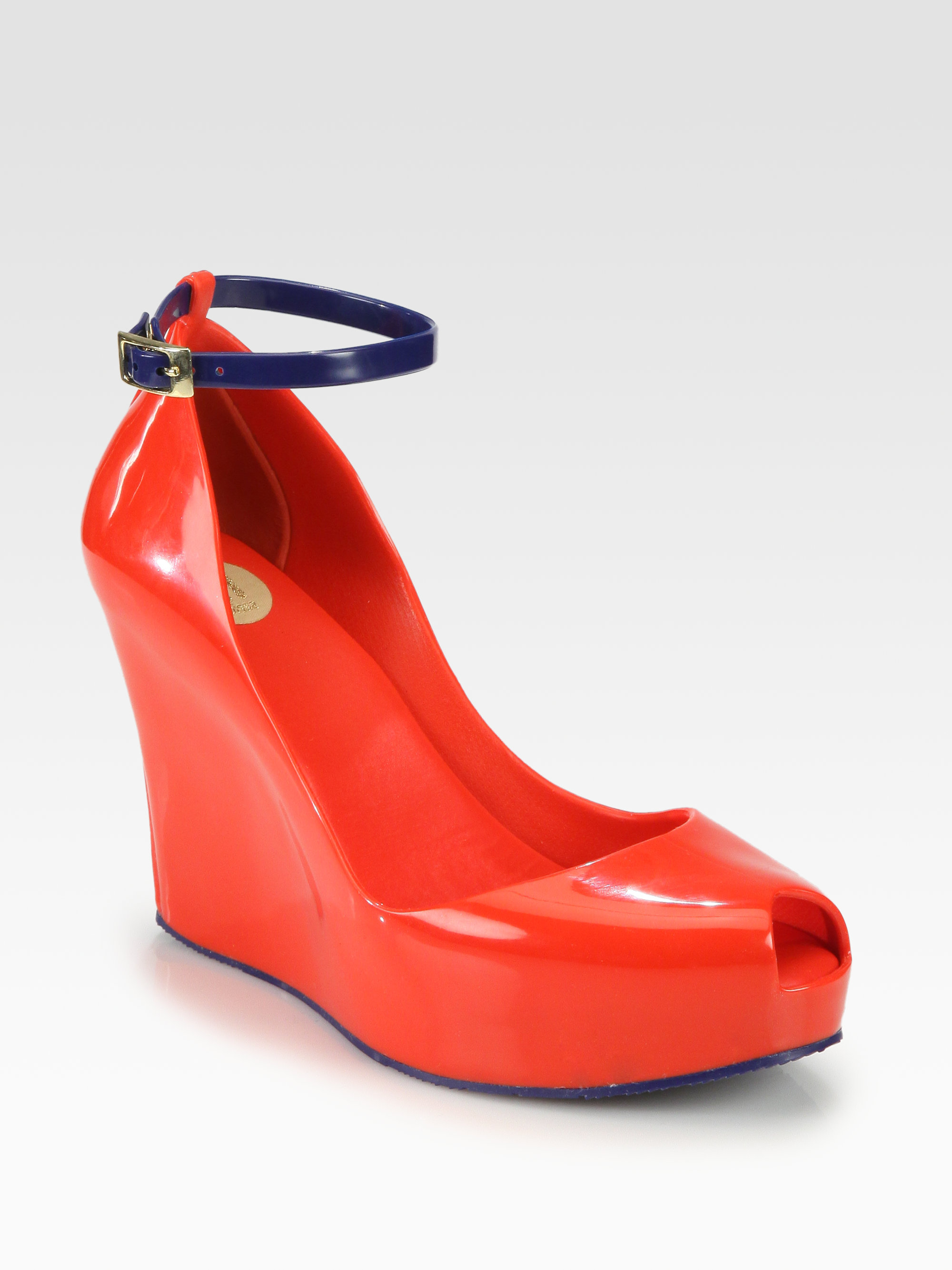 Melissa Patchuli Jelly Wedge Sandals in Red | Lyst