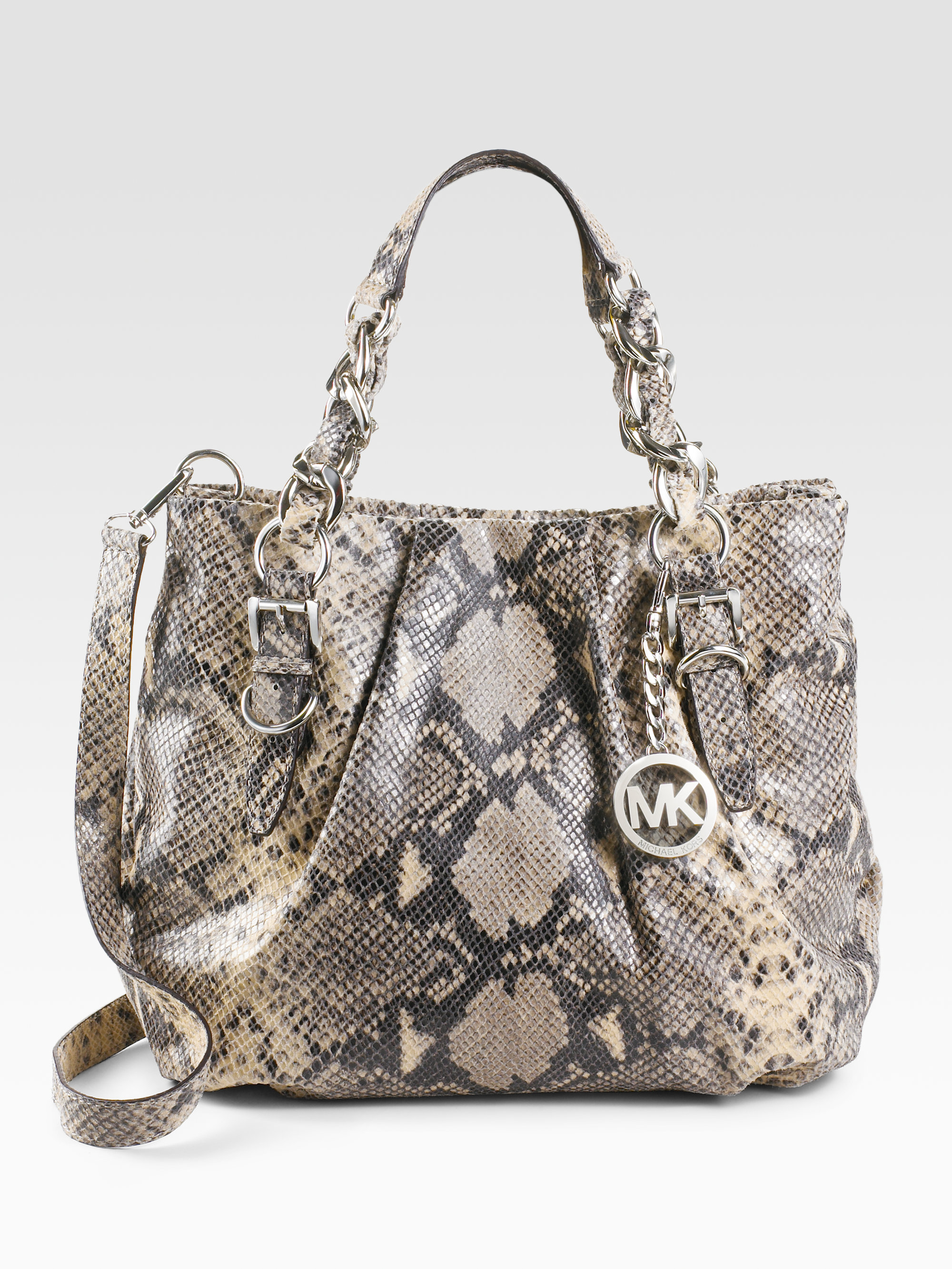5d96b8975c20 buy michael kors colette python bag 8d868 e3dd0; closeout lyst michael  michael kors embossed python leather tote bag in natural 15dcc ccce5