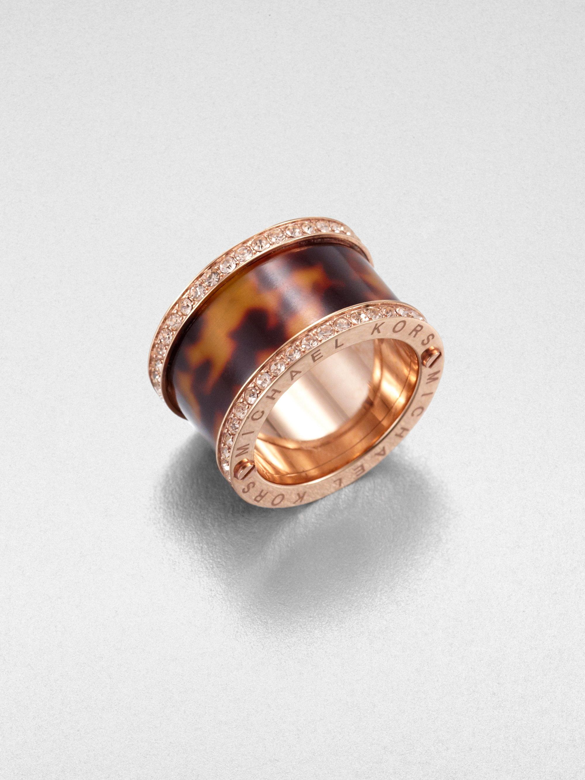 michael kors pav tortoise print barrel ring in brown lyst. Black Bedroom Furniture Sets. Home Design Ideas