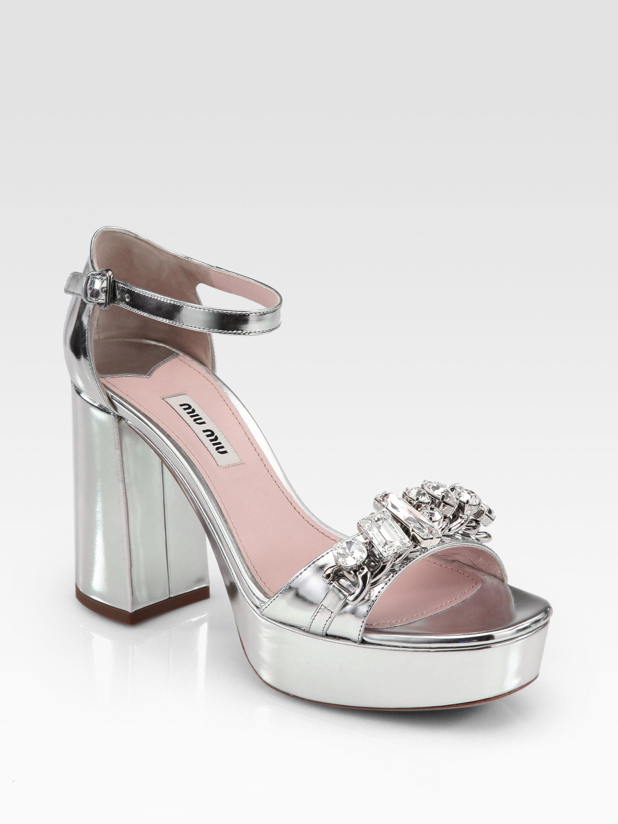 f21cdfa1820b4d Lyst - Miu Miu Metallic Leather Jeweled Platform Sandals in Gray