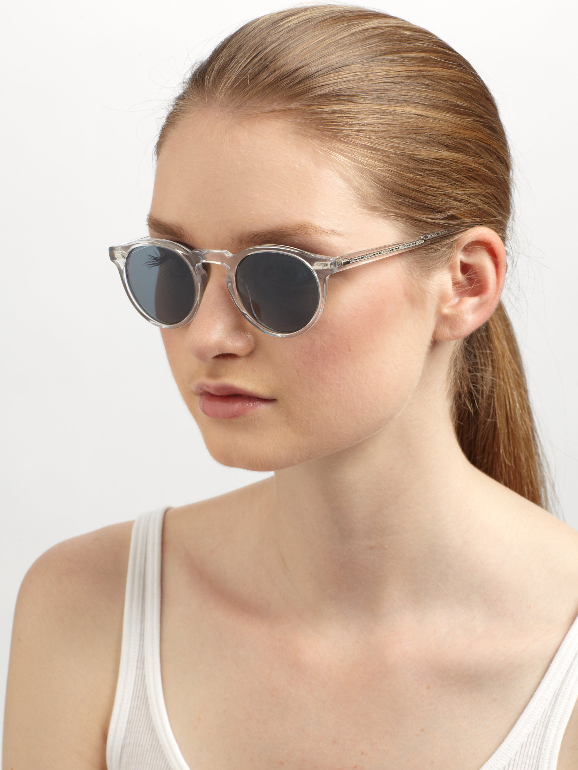6d15fde9b21 Lyst - Oliver Peoples Gregory Peck Oval Plastic Sunglasses crystal ...