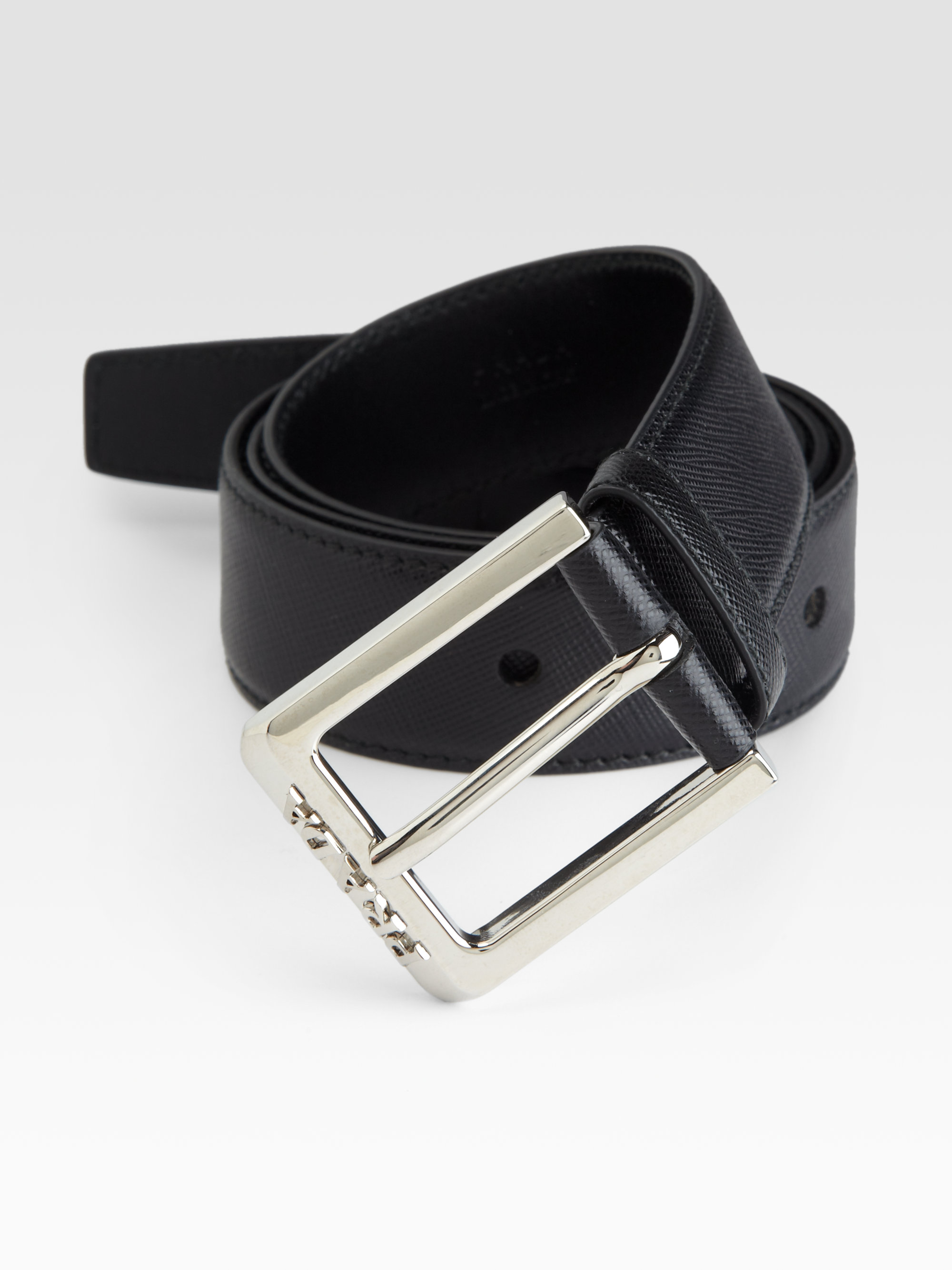 prada saffiano leather belt in black for lyst