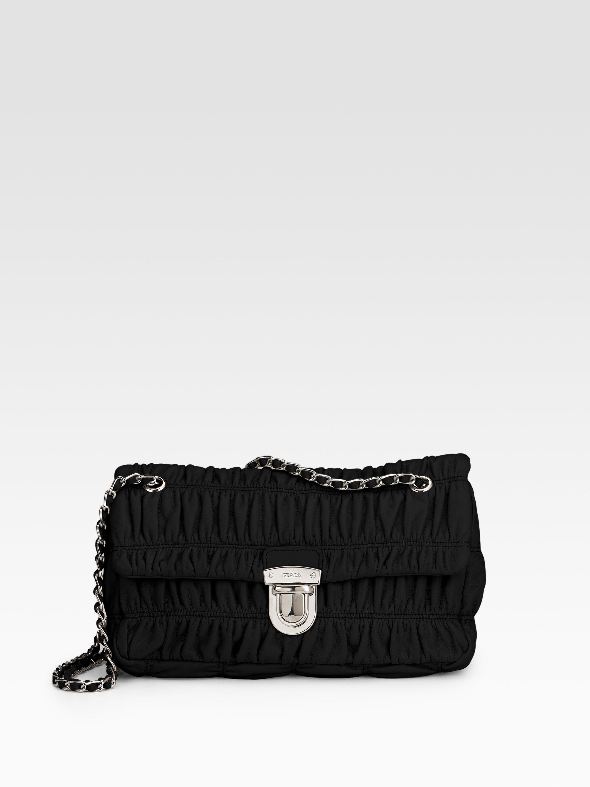 f462c895c1e9 Prada Small Nappa Gaufre Mini Shoulder Bag in Black