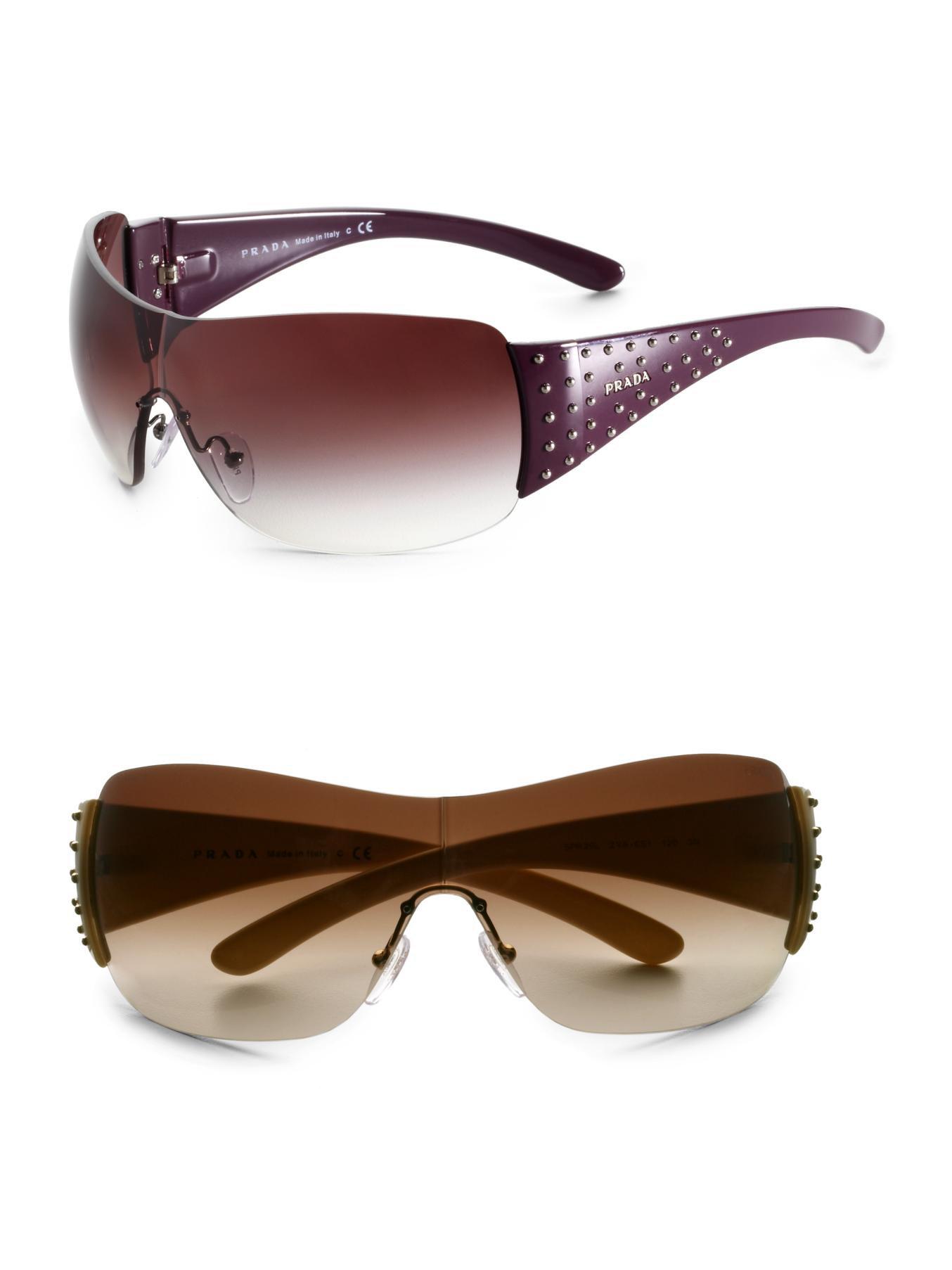 Prada Shield Sunglasses  prada studded shield sunglasses in purple lyst