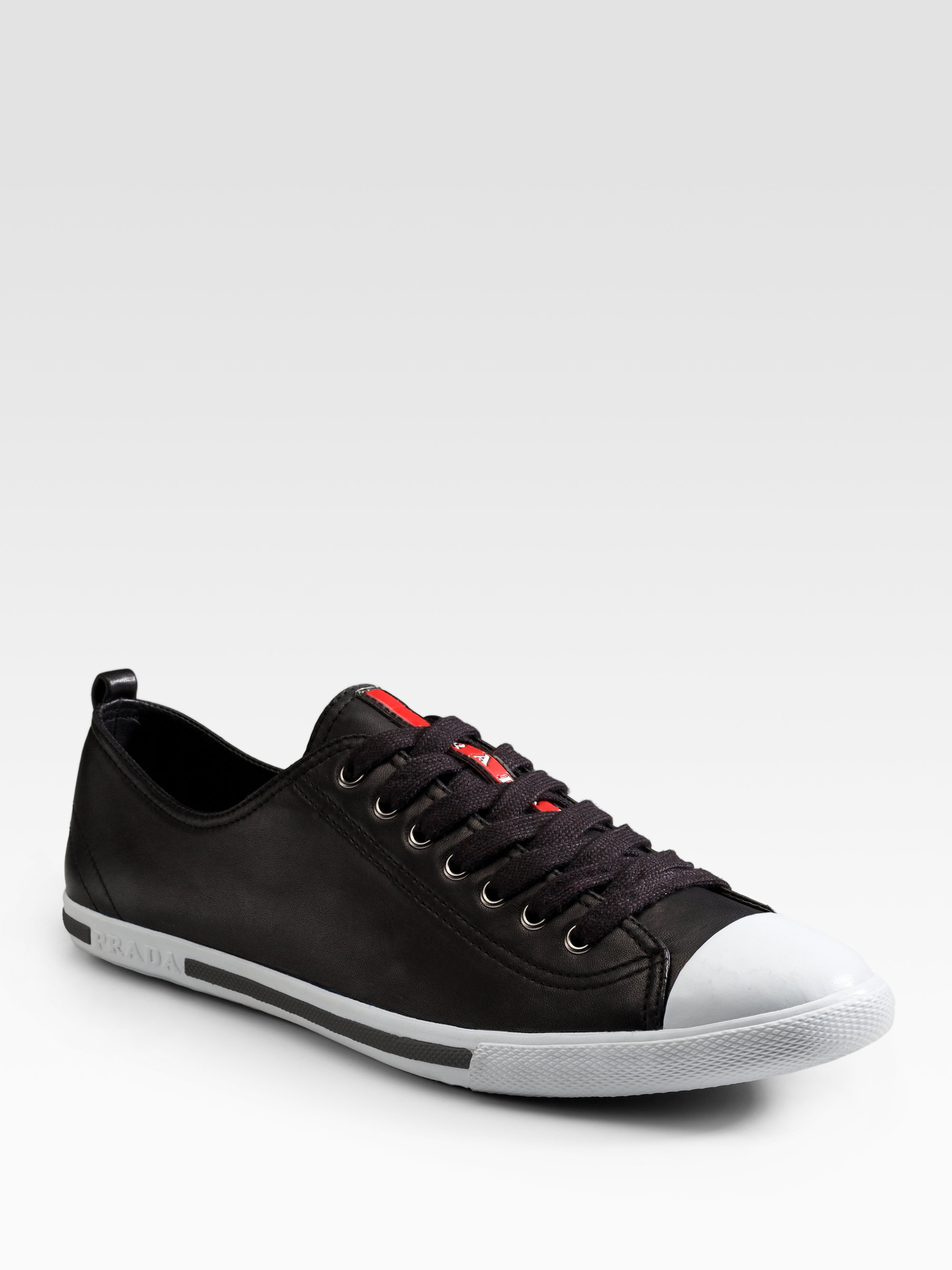 adc7218357bb ... where can i buy lyst prada nappa leather sneakers in black for men  648c7 b4e9b ...
