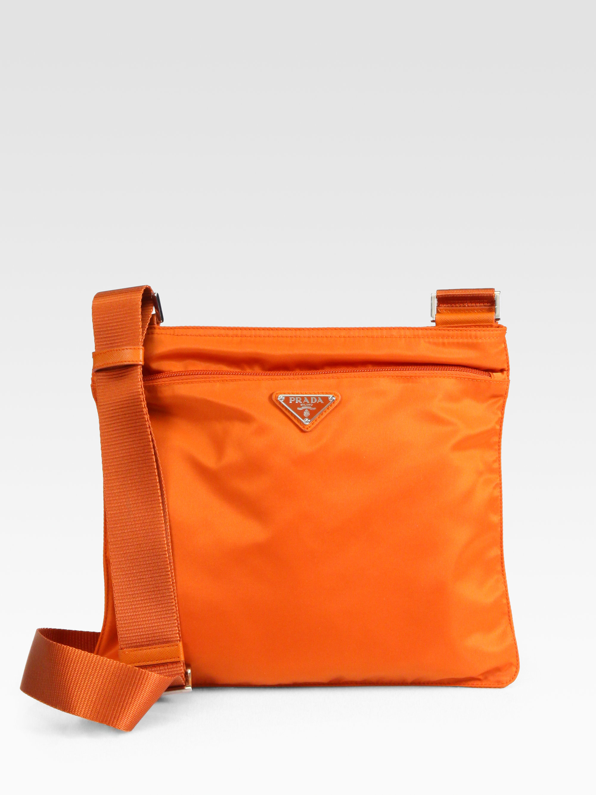 Prada Vela Large Messenger Bag in Orange (papaya-orange) | Lyst