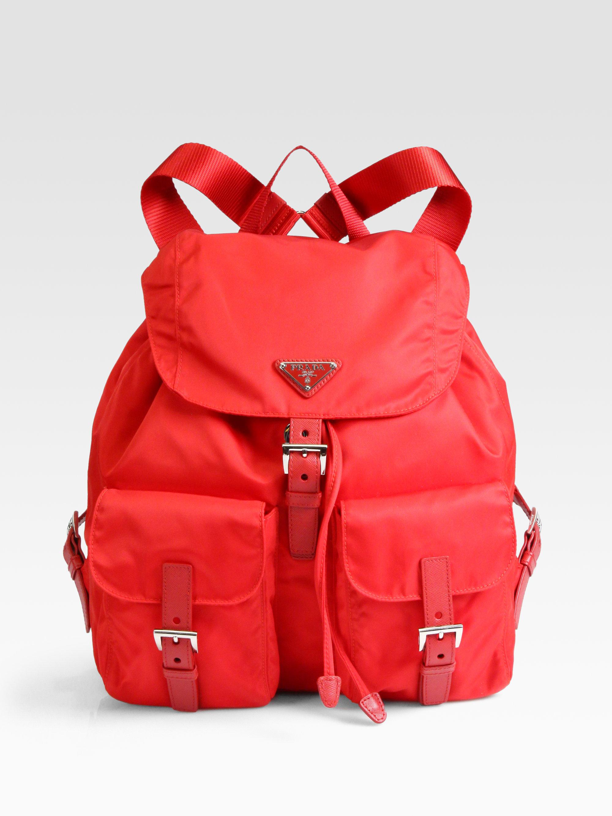 445a5be4bcf35 Lyst - Prada Vela Backpack in Red