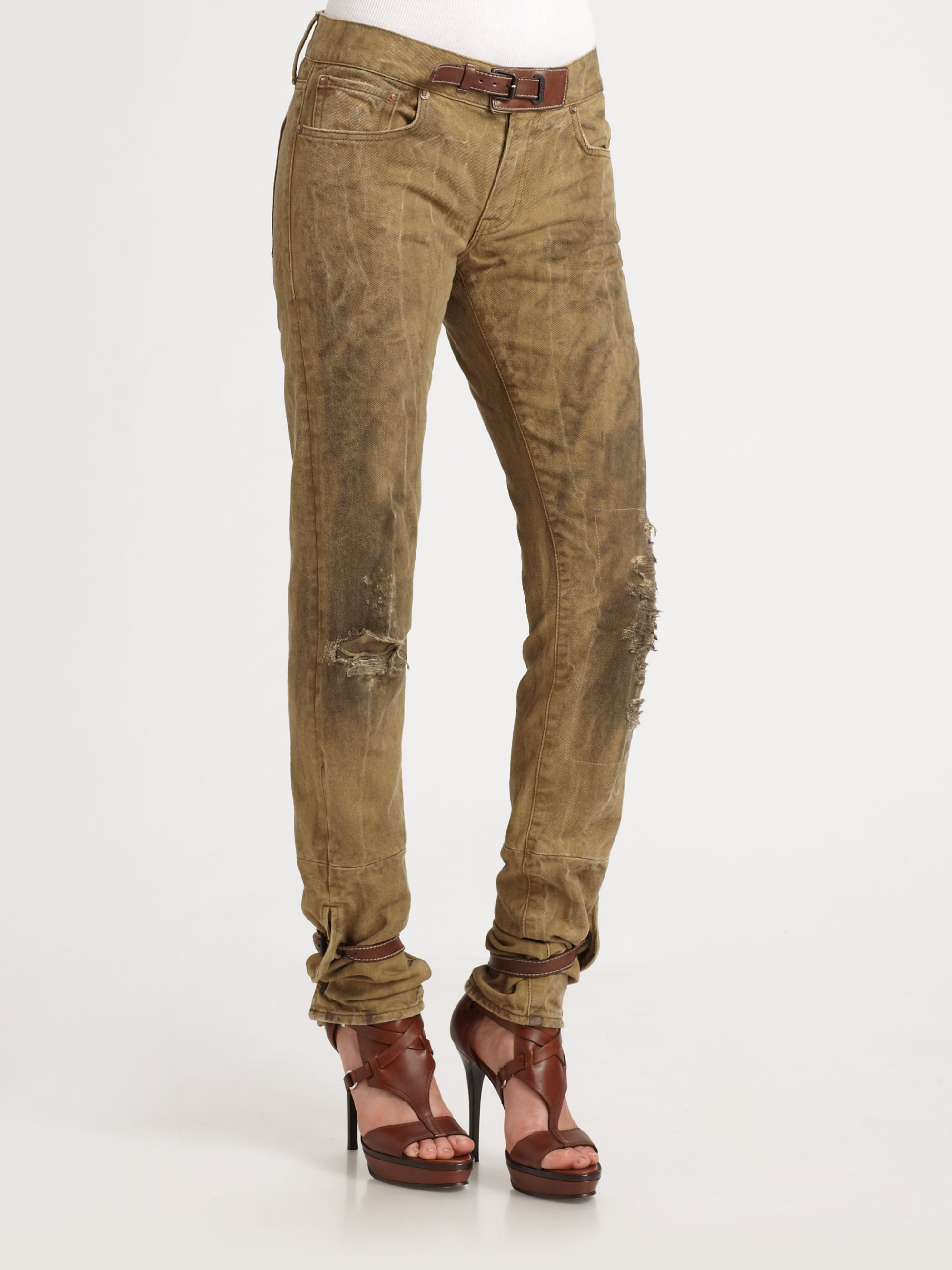 Ralph lauren blue label Leather Accented Distressed Jeans in Brown ...
