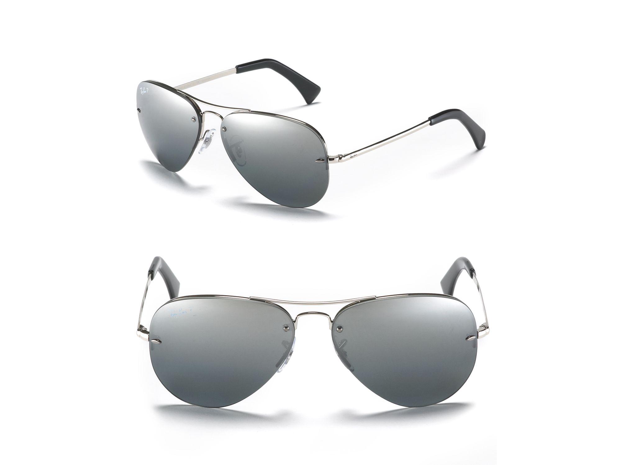 Rimless Polarized Sunglasses : Ray-ban Polarized Rimless Large Aviator Sunglasses in ...