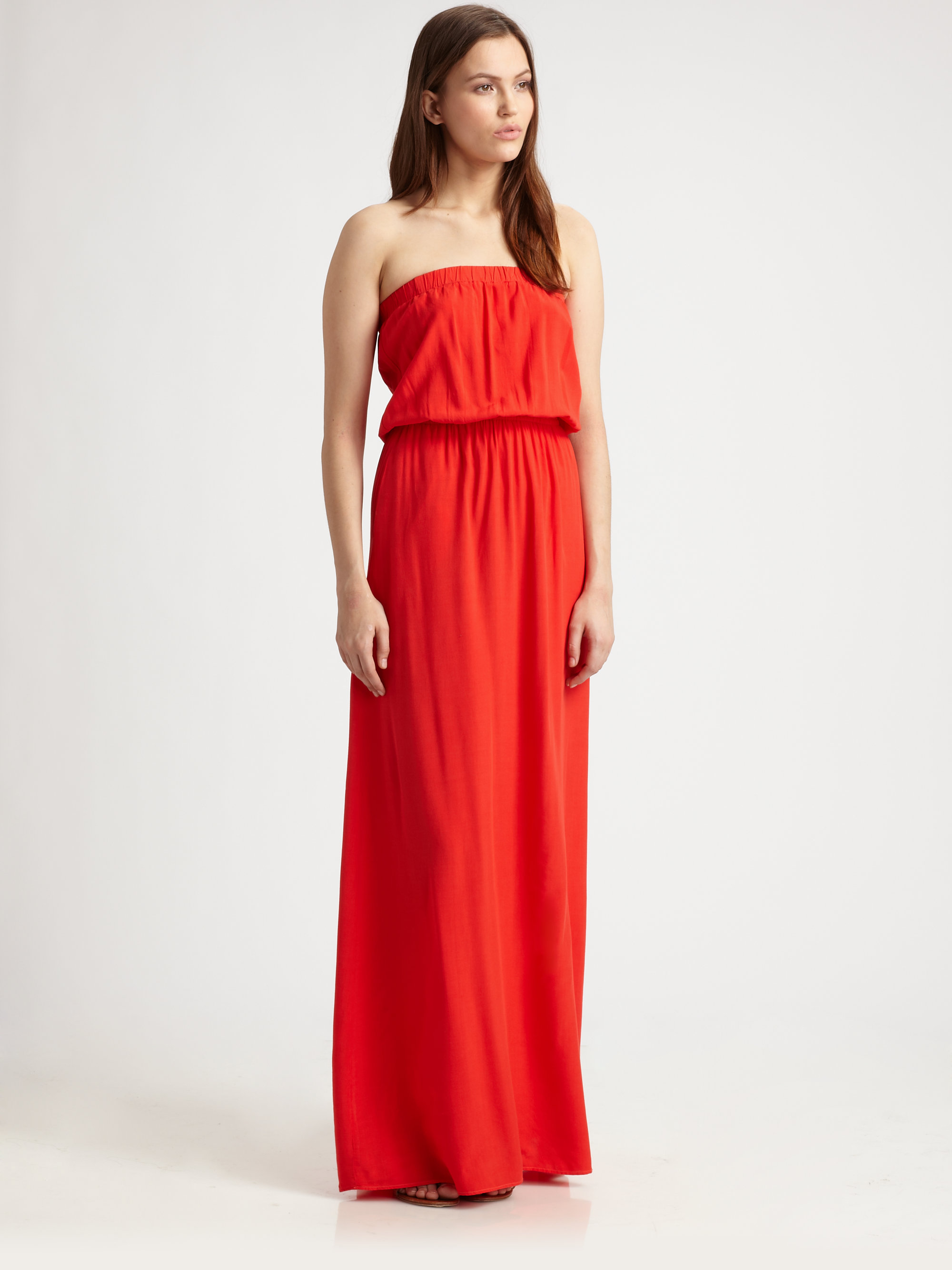 Splendid Strapless Maxi Dress in Red (paprika) | Lyst