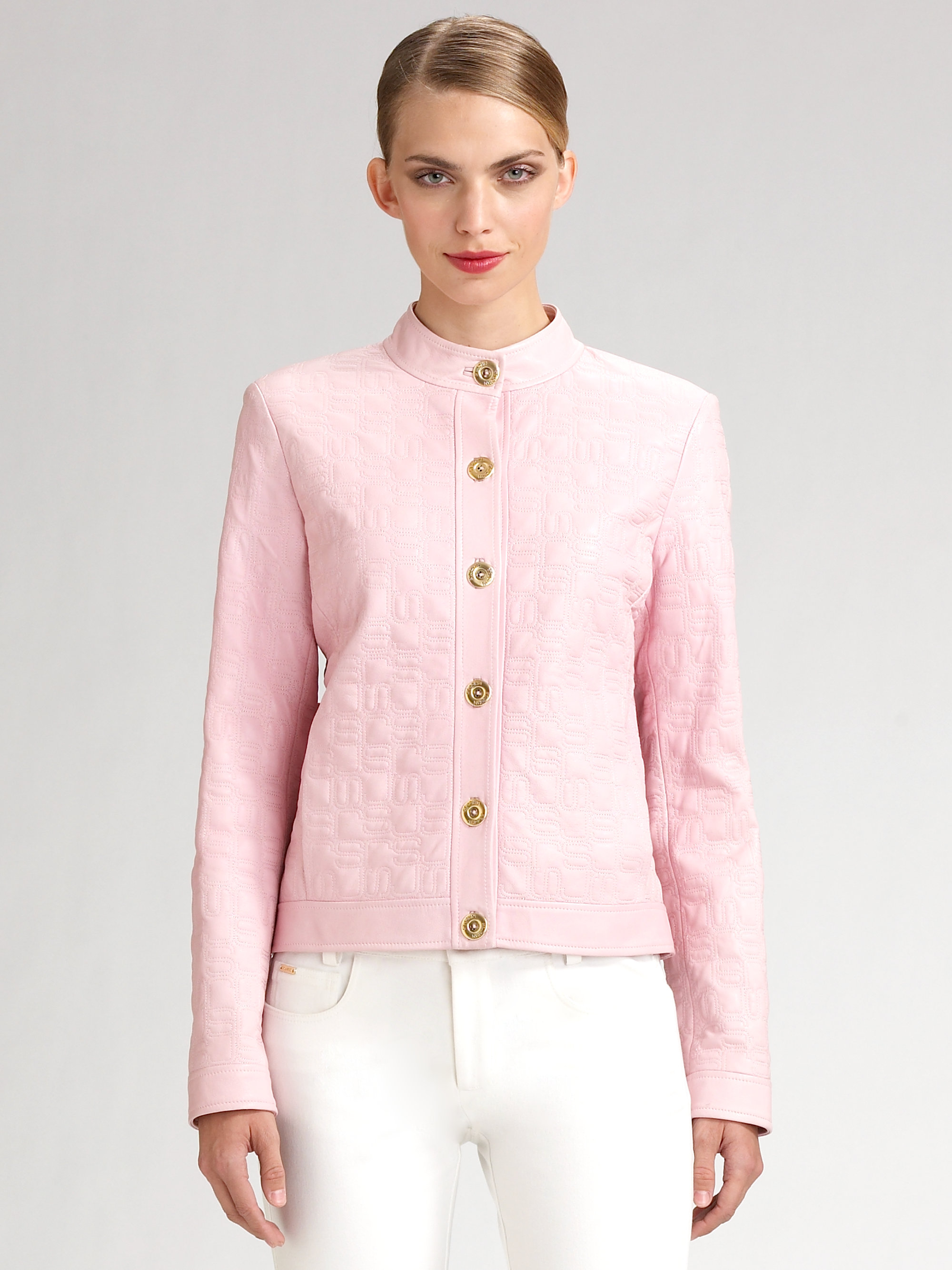 St John Logo Quilted Leather Bomber Jacket In Pink Lyst