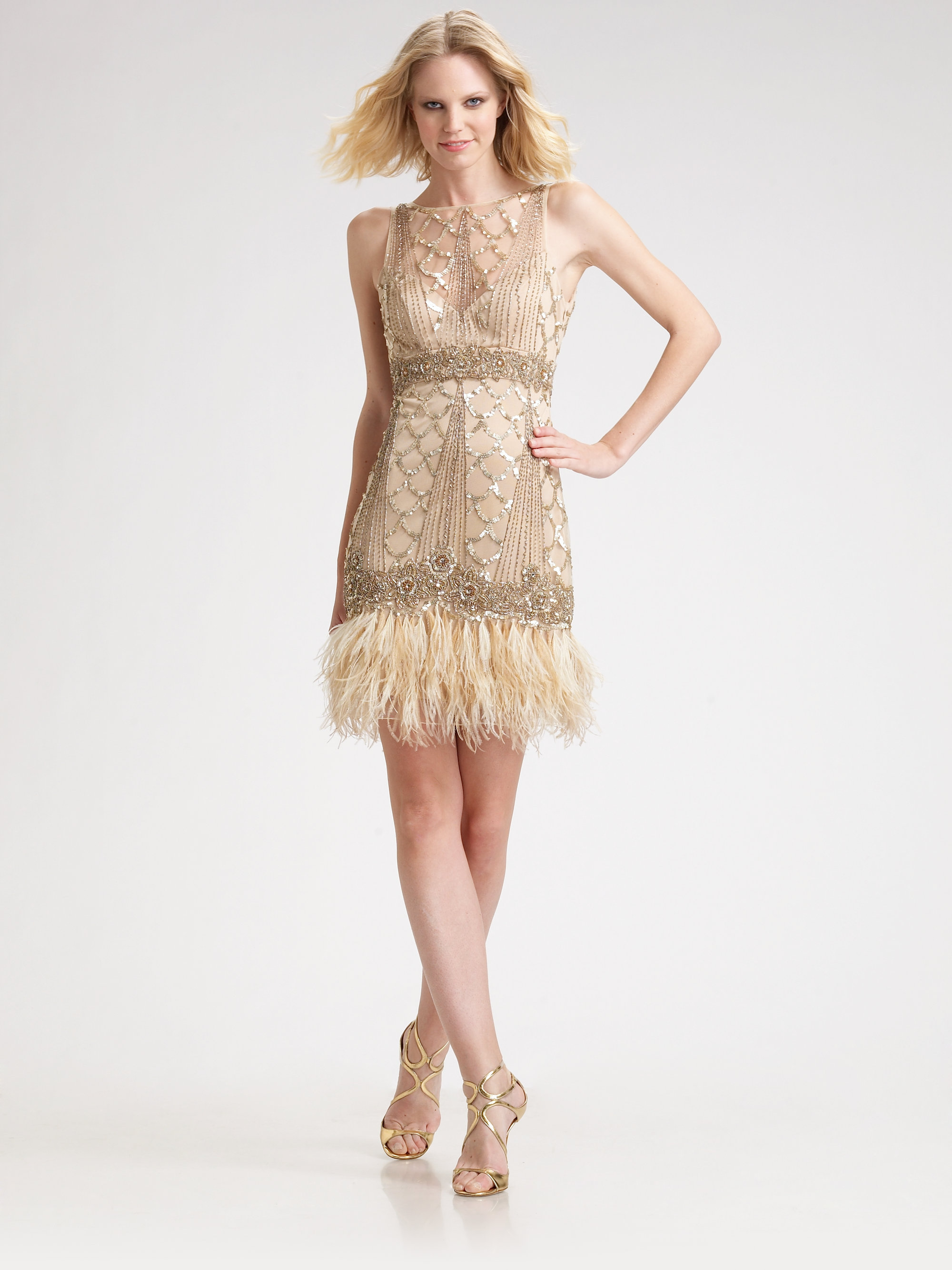 Lyst - Sue Wong Sequined Feather Hem Dress in Pink