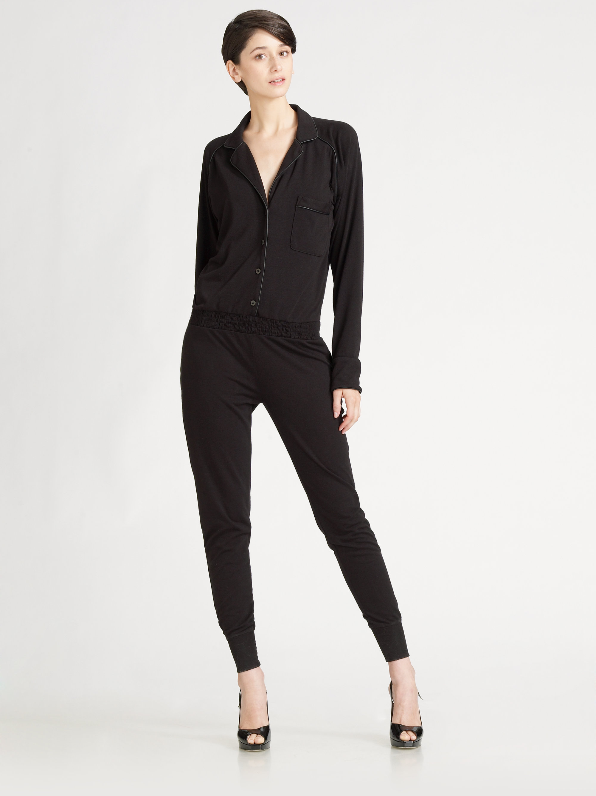 t by alexander wang leathertrim jumpsuit in black lyst. Black Bedroom Furniture Sets. Home Design Ideas