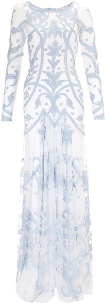 Temperley London Powder Blue Francine Tattoo Dress - Lyst